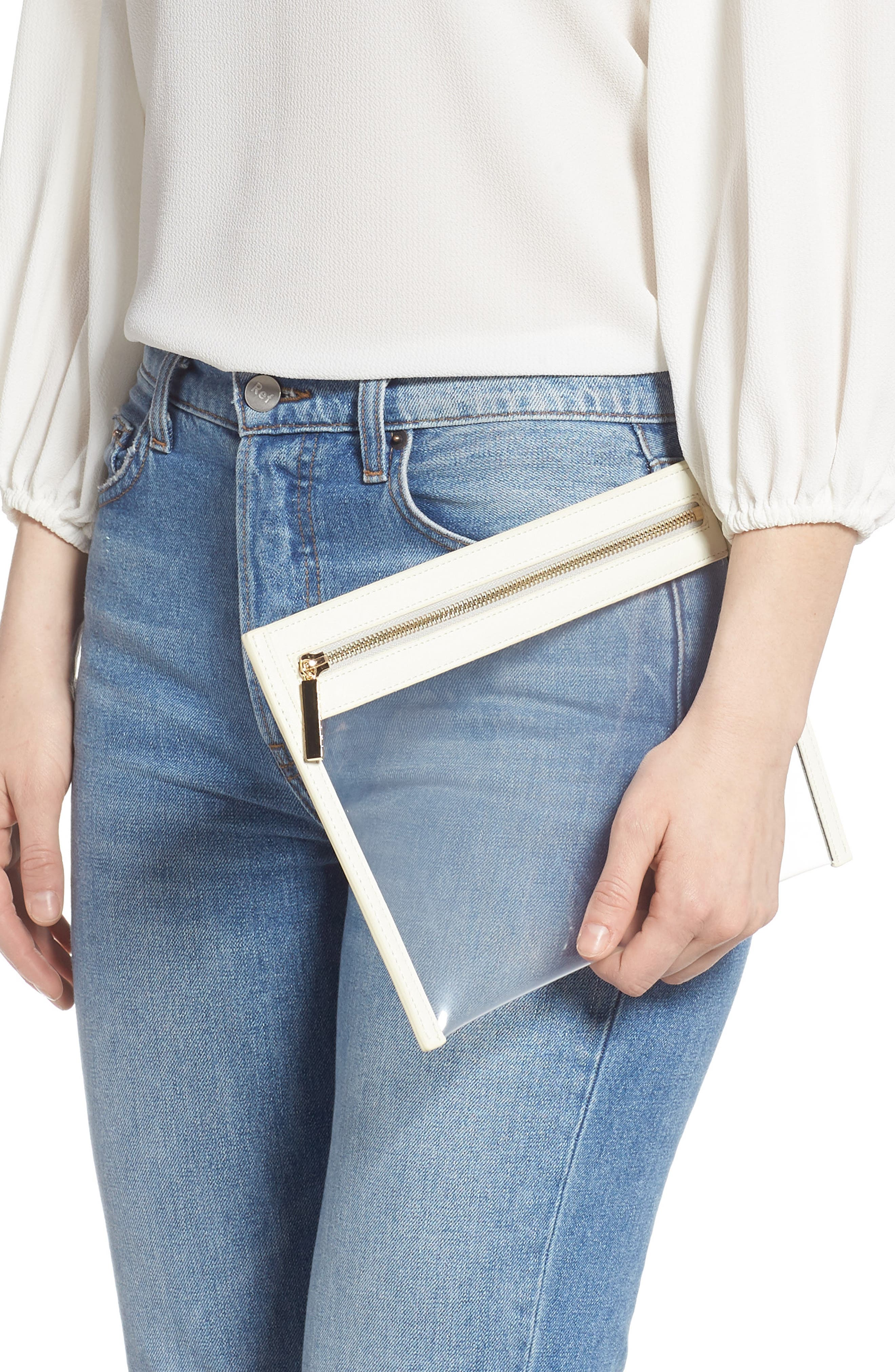 TRUFFLE, Small Clarity Clutch, Alternate thumbnail 2, color, WHITE