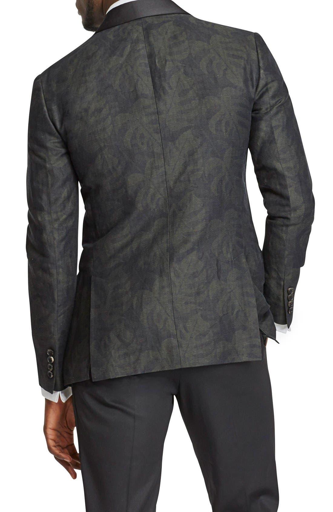 BONOBOS, Trim Fit Linen & Cotton Print Dinner Jacket, Alternate thumbnail 3, color, 001