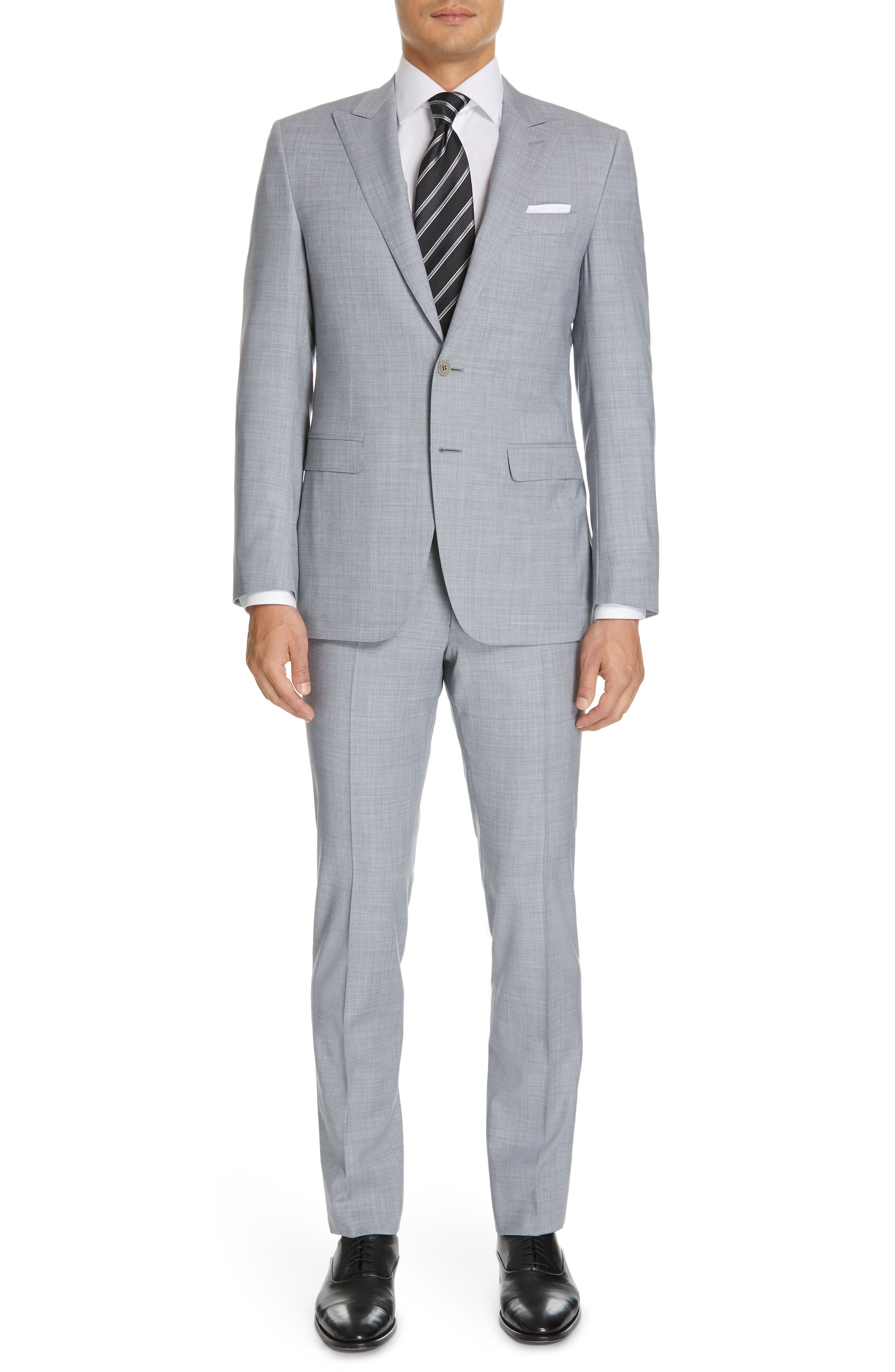 CANALI, Milano Classic Fit Solid Wool Suit, Main thumbnail 1, color, LIGHT GREY