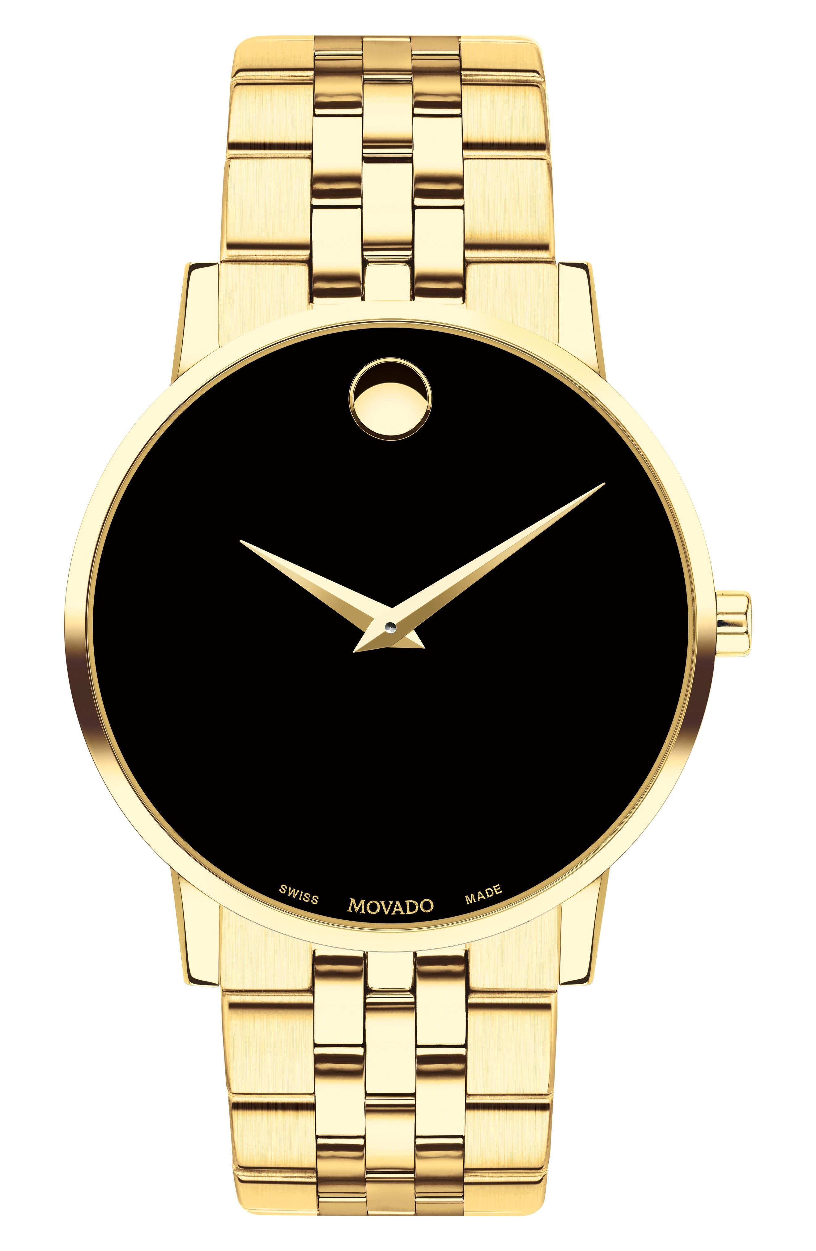 MOVADO, Bracelet Watch, 40mm, Main thumbnail 1, color, GOLD/ BLACK/ GOLD