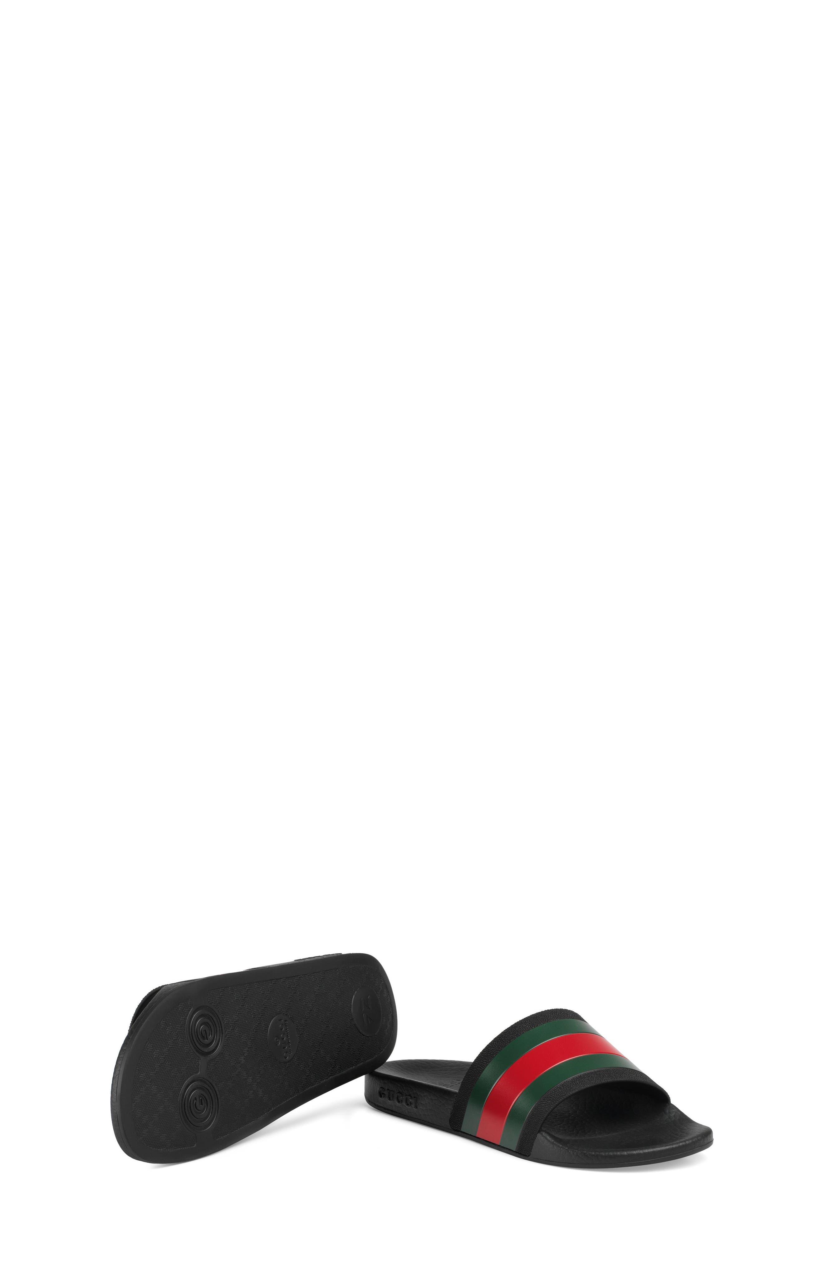 GUCCI, Pursuit Slide Sandal, Alternate thumbnail 6, color, BLACK/ GREEN/ RED