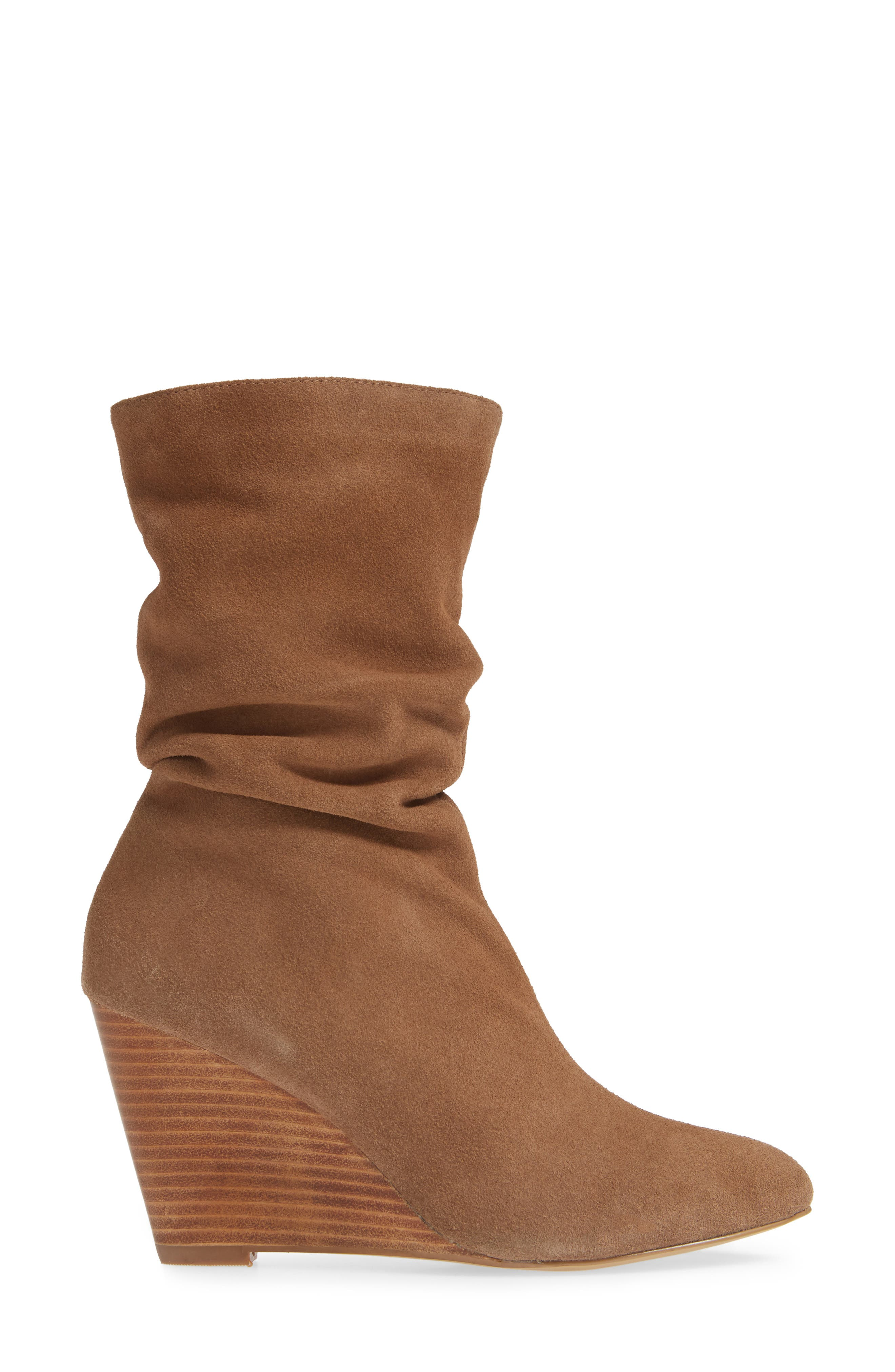 CHARLES BY CHARLES DAVID, Edell Slouchy Wedge Boot, Alternate thumbnail 3, color, TAUPE SUEDE
