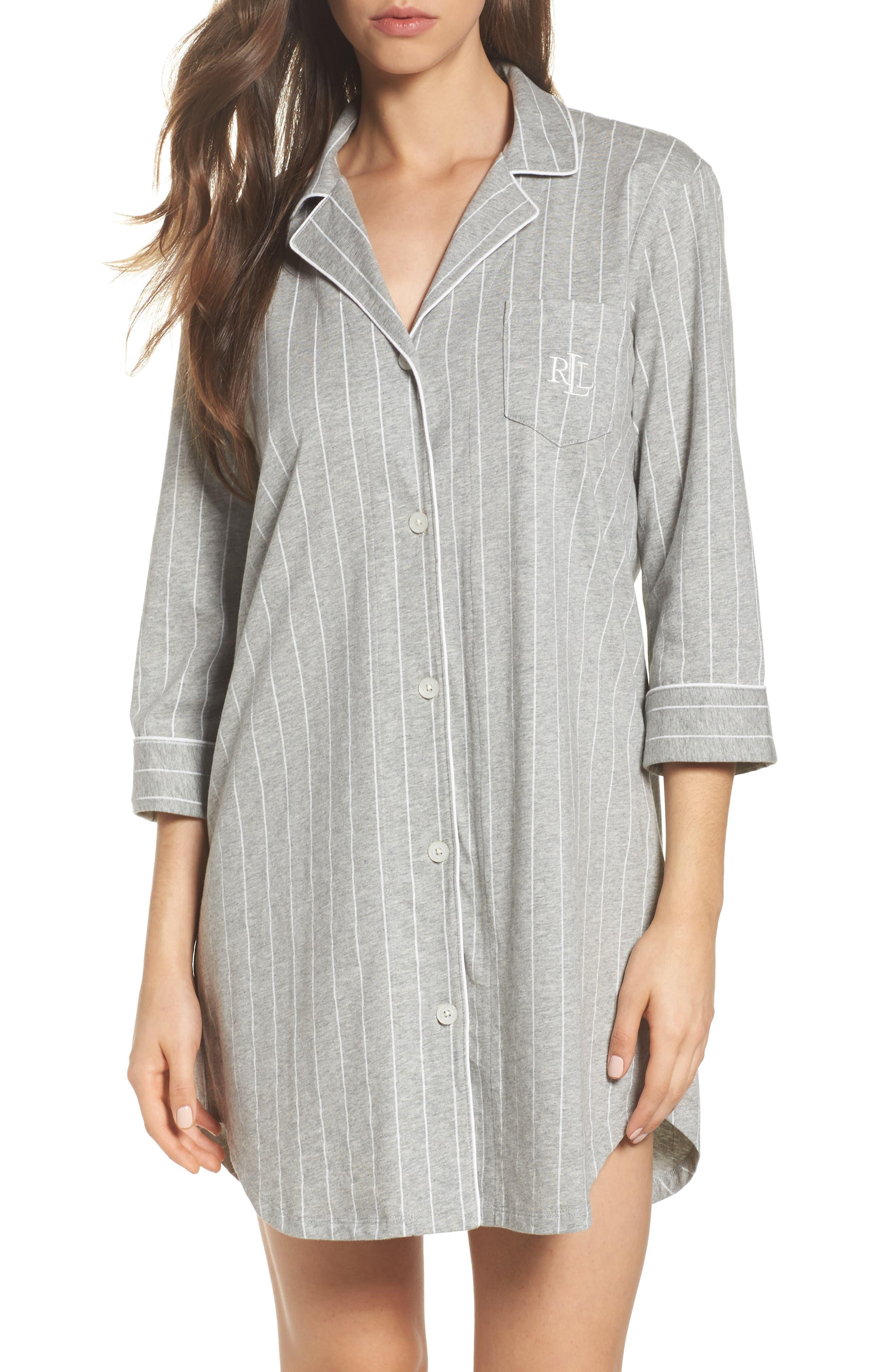 LAUREN RALPH LAUREN Jersey Sleep Shirt, Main, color, GREYSTONE