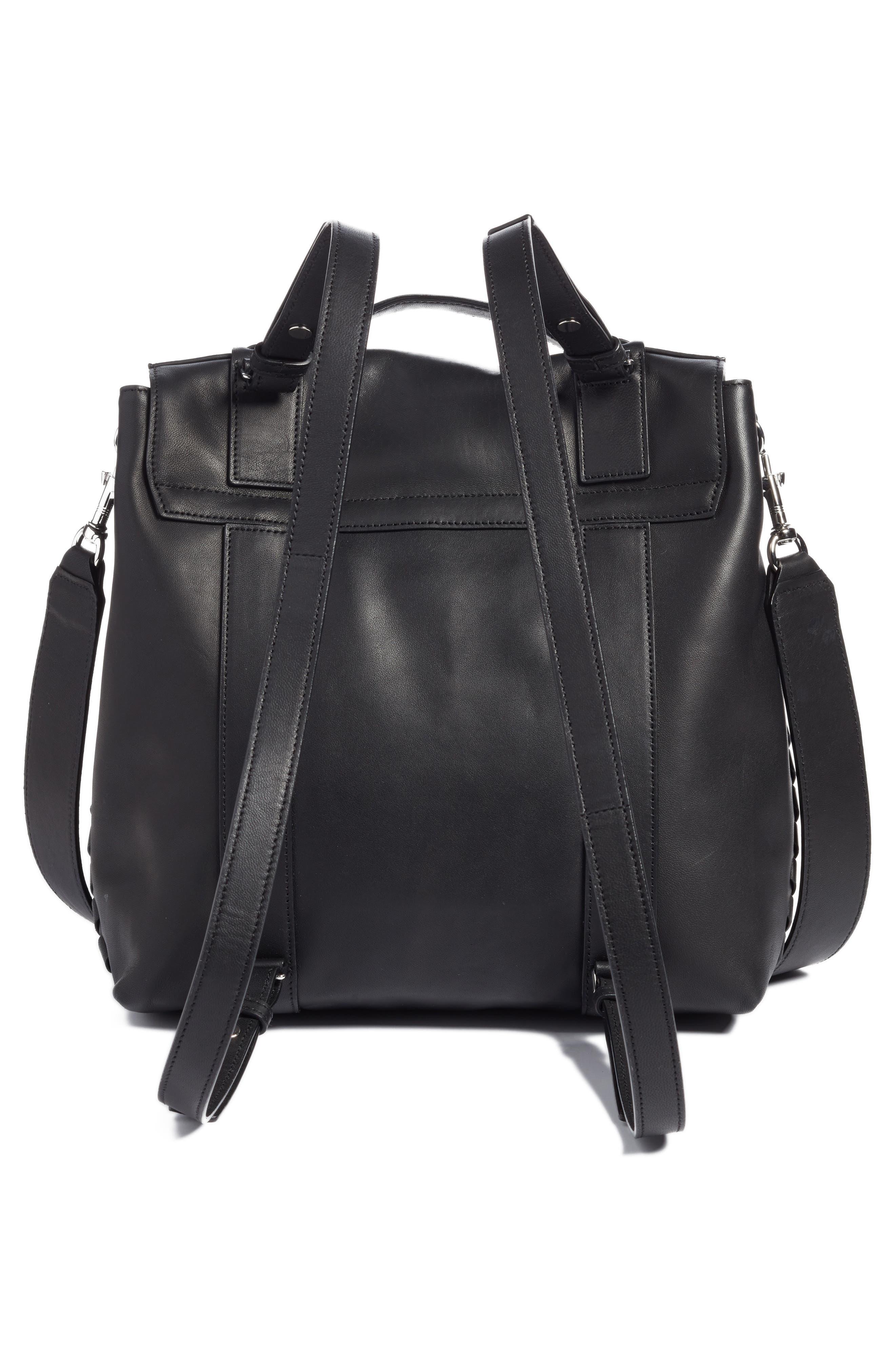 ALLSAINTS, Fin Leather Backpack, Alternate thumbnail 3, color, BLACK