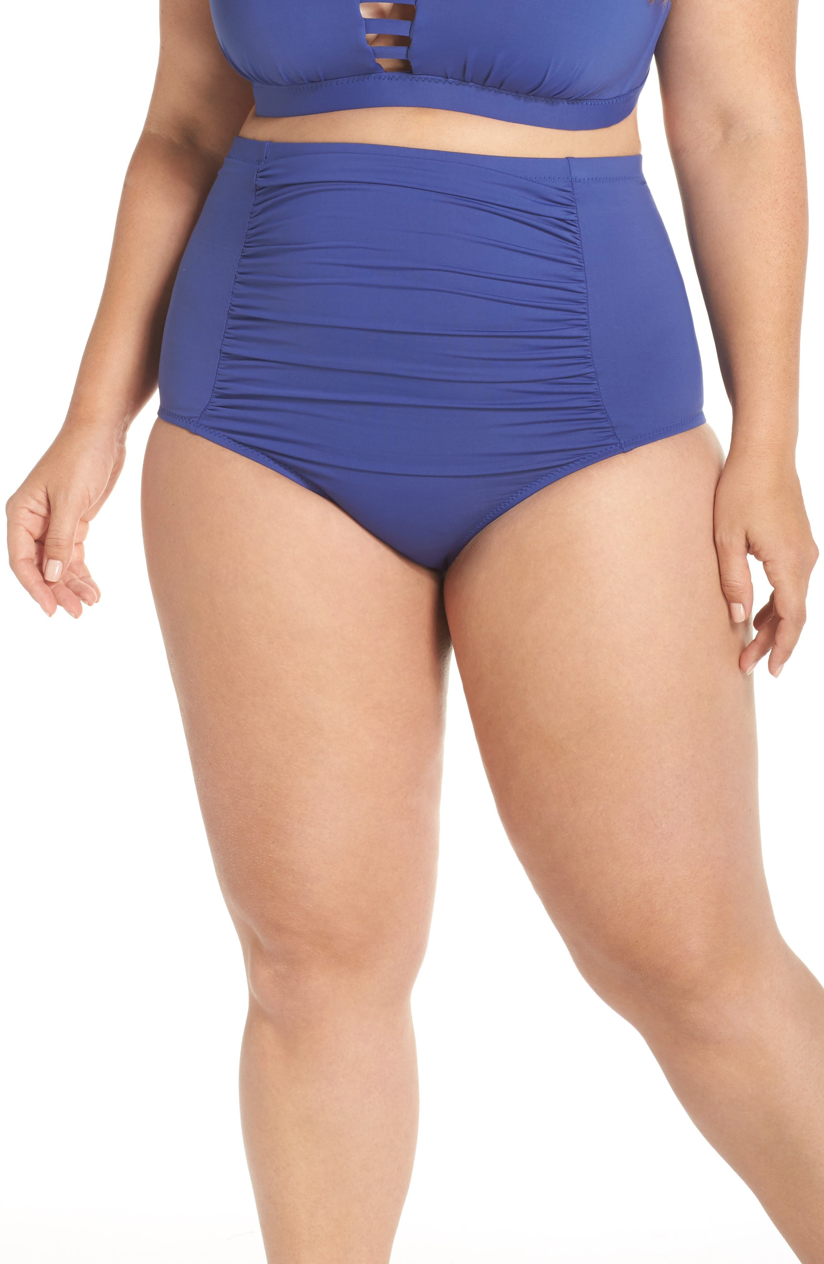BECCA ETC., Color Code High Waist Bikini Bottoms, Main thumbnail 1, color, BLUE TOPAZ