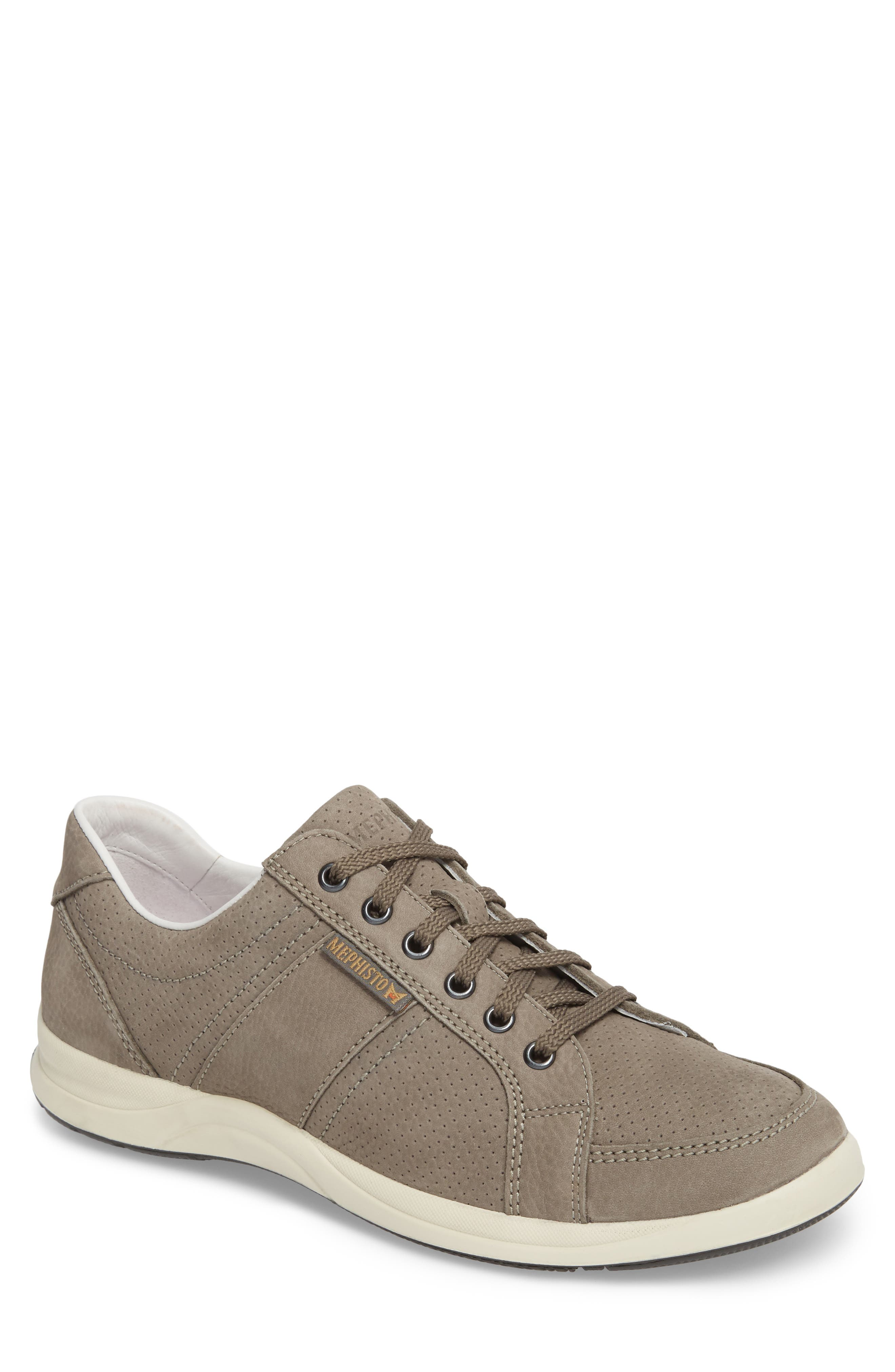MEPHISTO, 'Hero' Perforated Sneaker, Main thumbnail 1, color, GREY LEATHER