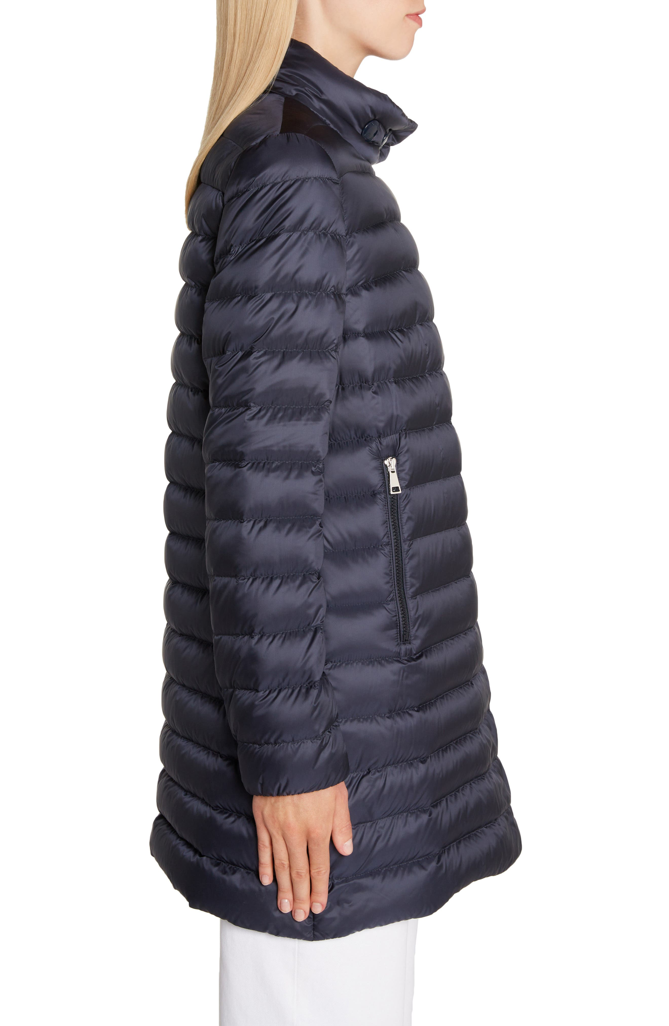MONCLER, Quilted Down Coat, Alternate thumbnail 4, color, NAVY