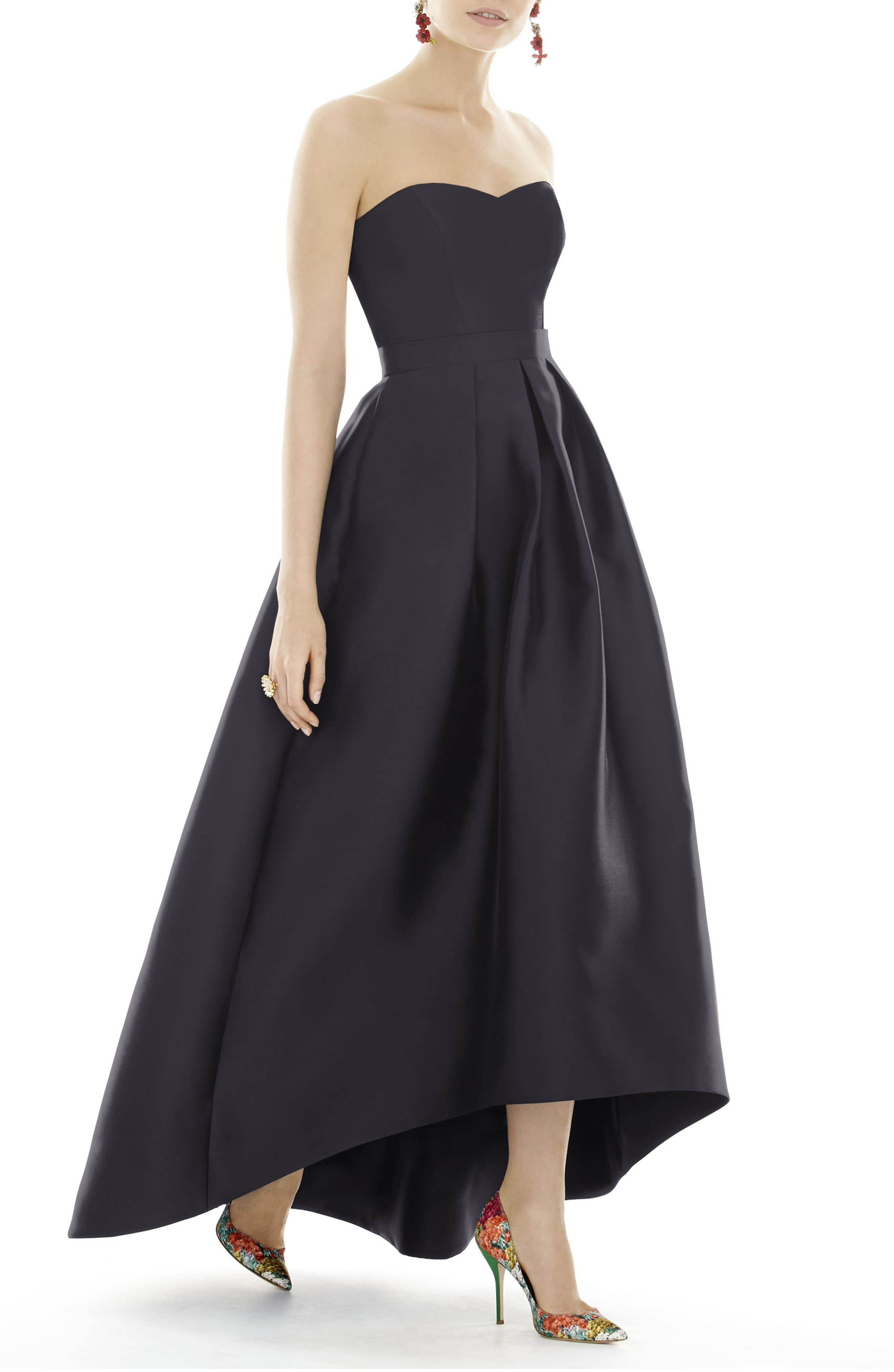 ALFRED SUNG, Strapless High/Low Satin Twill Ballgown, Alternate thumbnail 4, color, ONYX