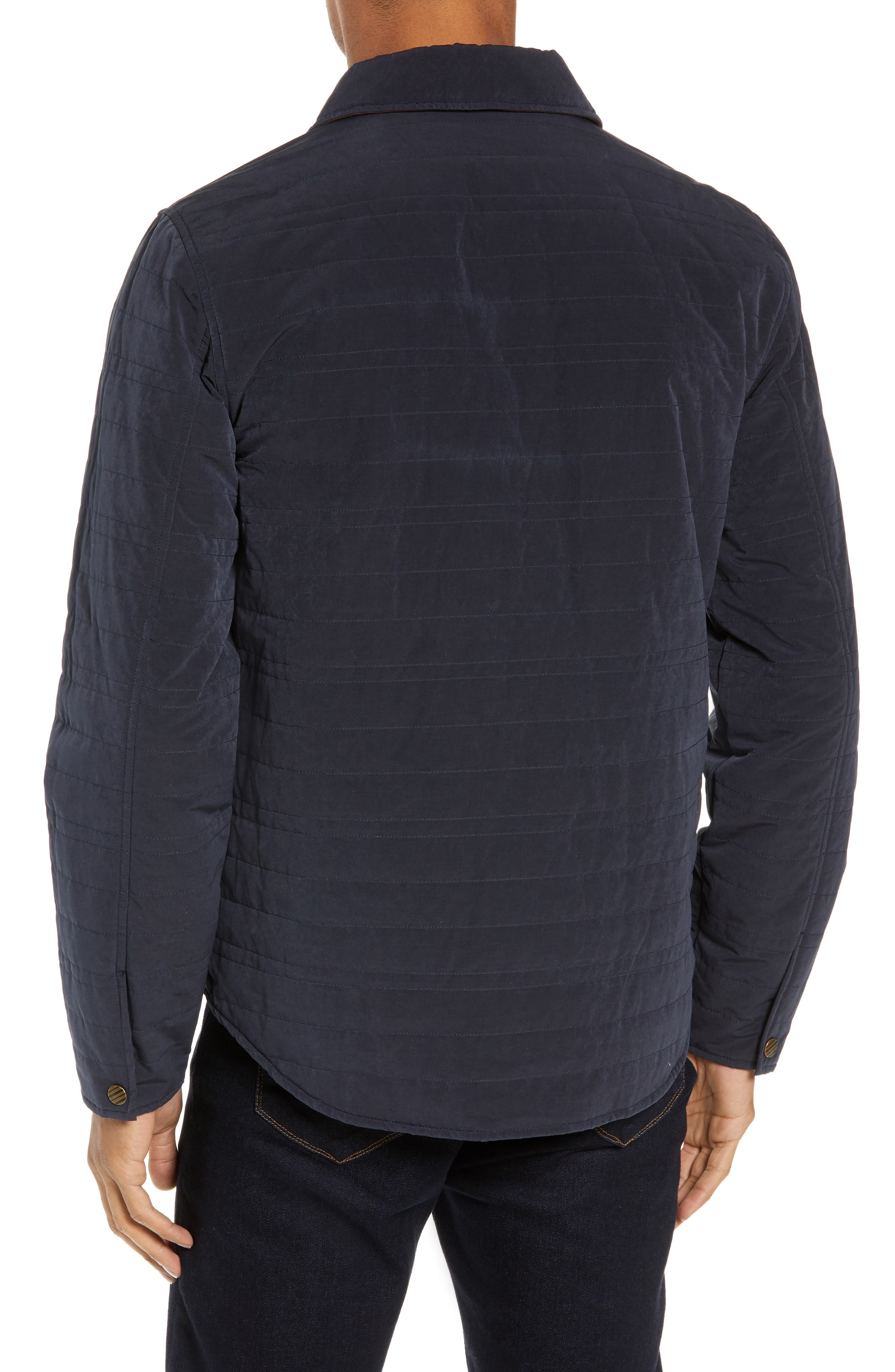 BILLY REID, Michael Slim Fit Quilted Shirt Jacket, Alternate thumbnail 2, color, NAVY