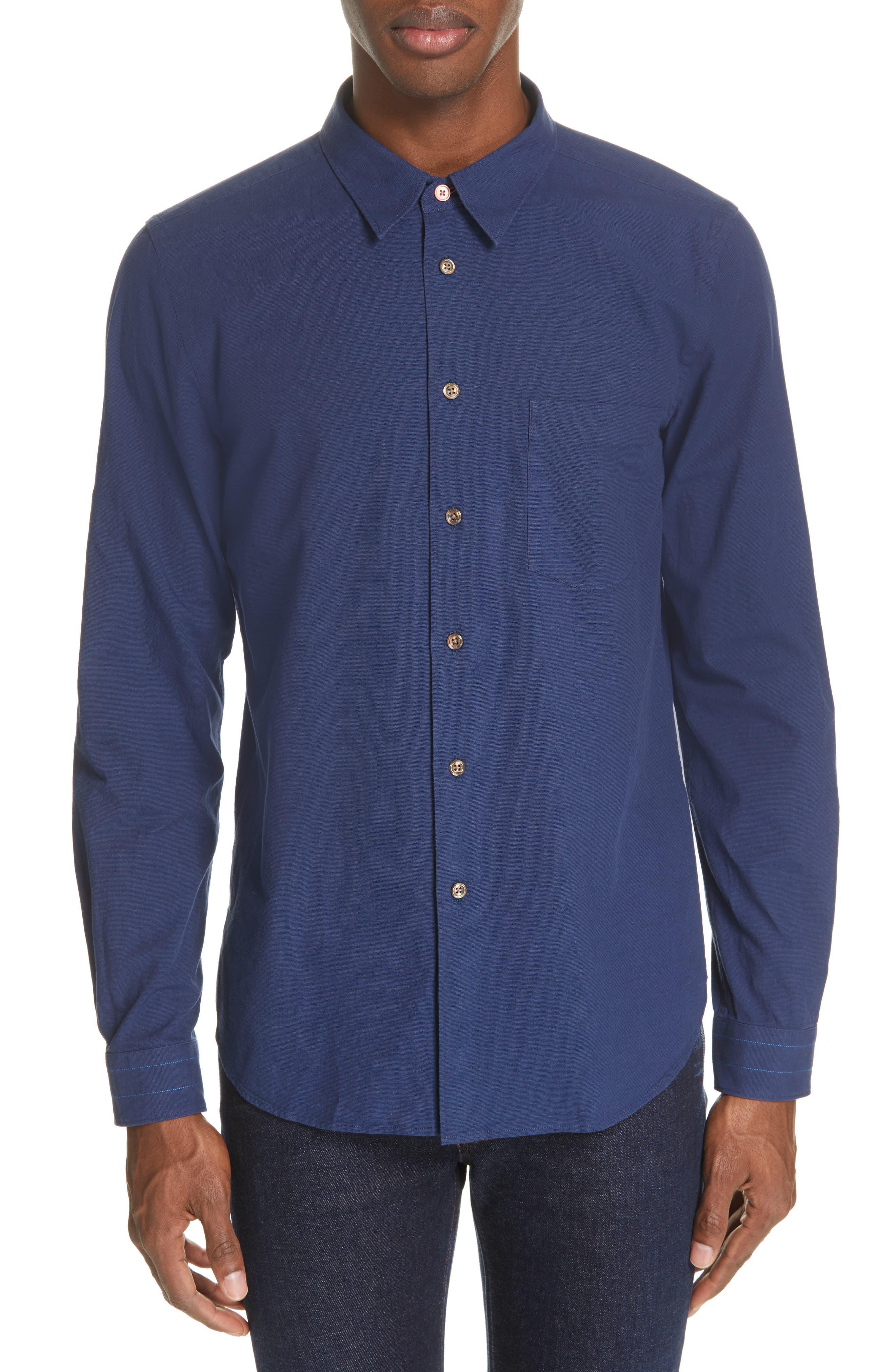 PS PAUL SMITH, Contrast Sport Shirt, Main thumbnail 1, color, BLUE