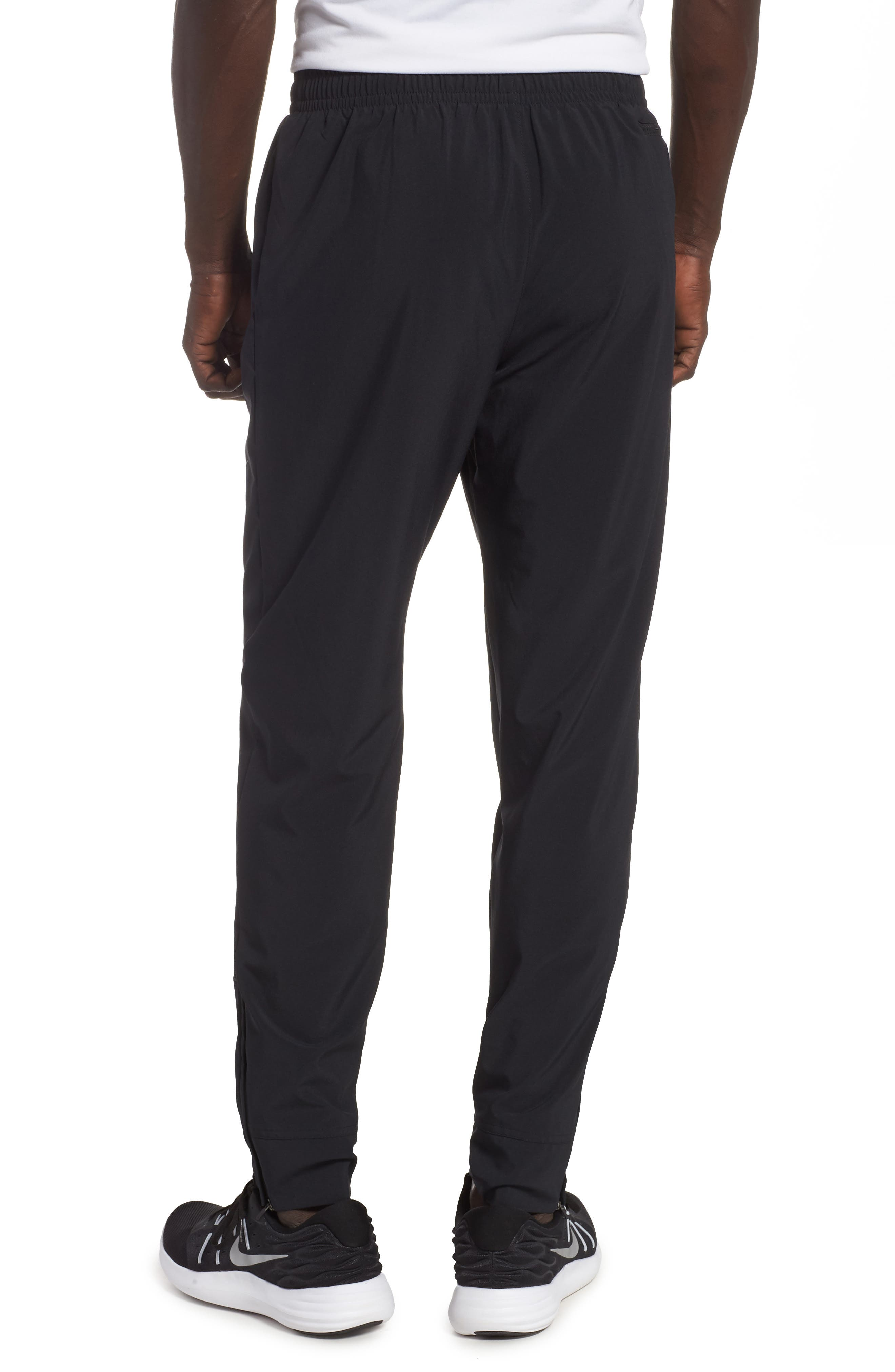NIKE, Essential Woven Track Pants, Alternate thumbnail 2, color, BLACK