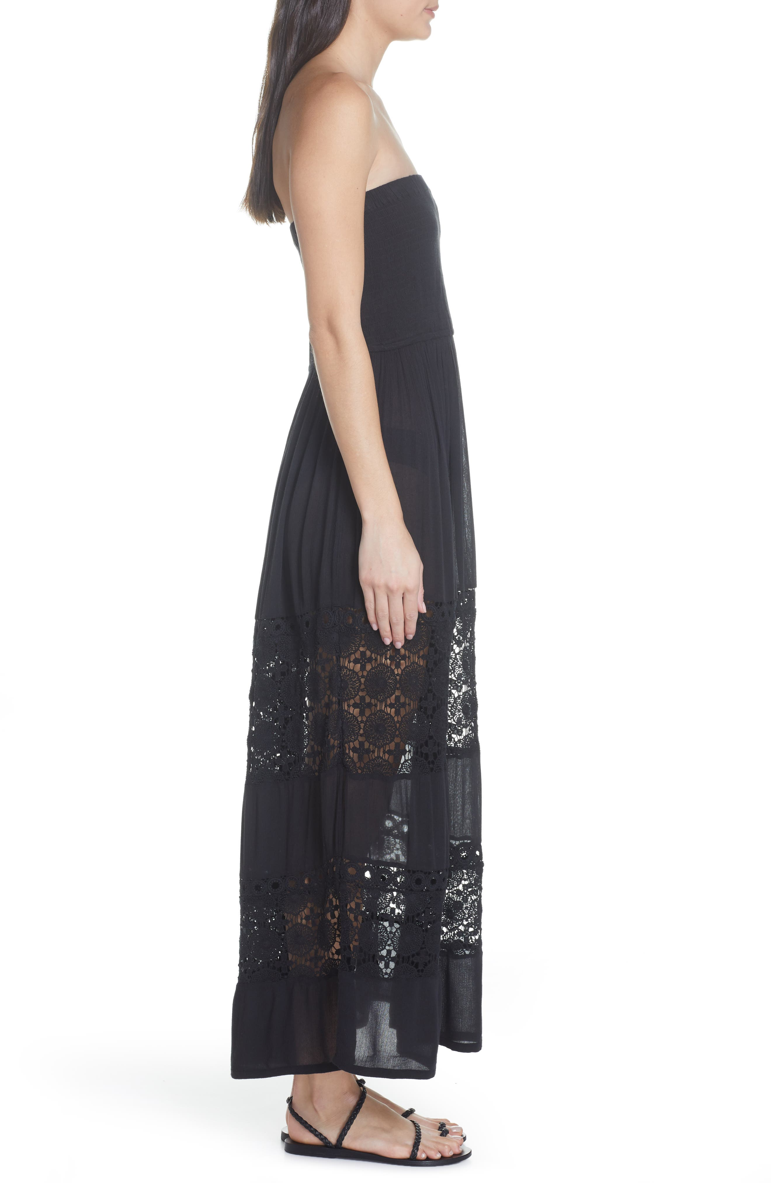 CHELSEA28, Farrah Smocked Cover-Up Maxi Dress, Alternate thumbnail 4, color, BLACK