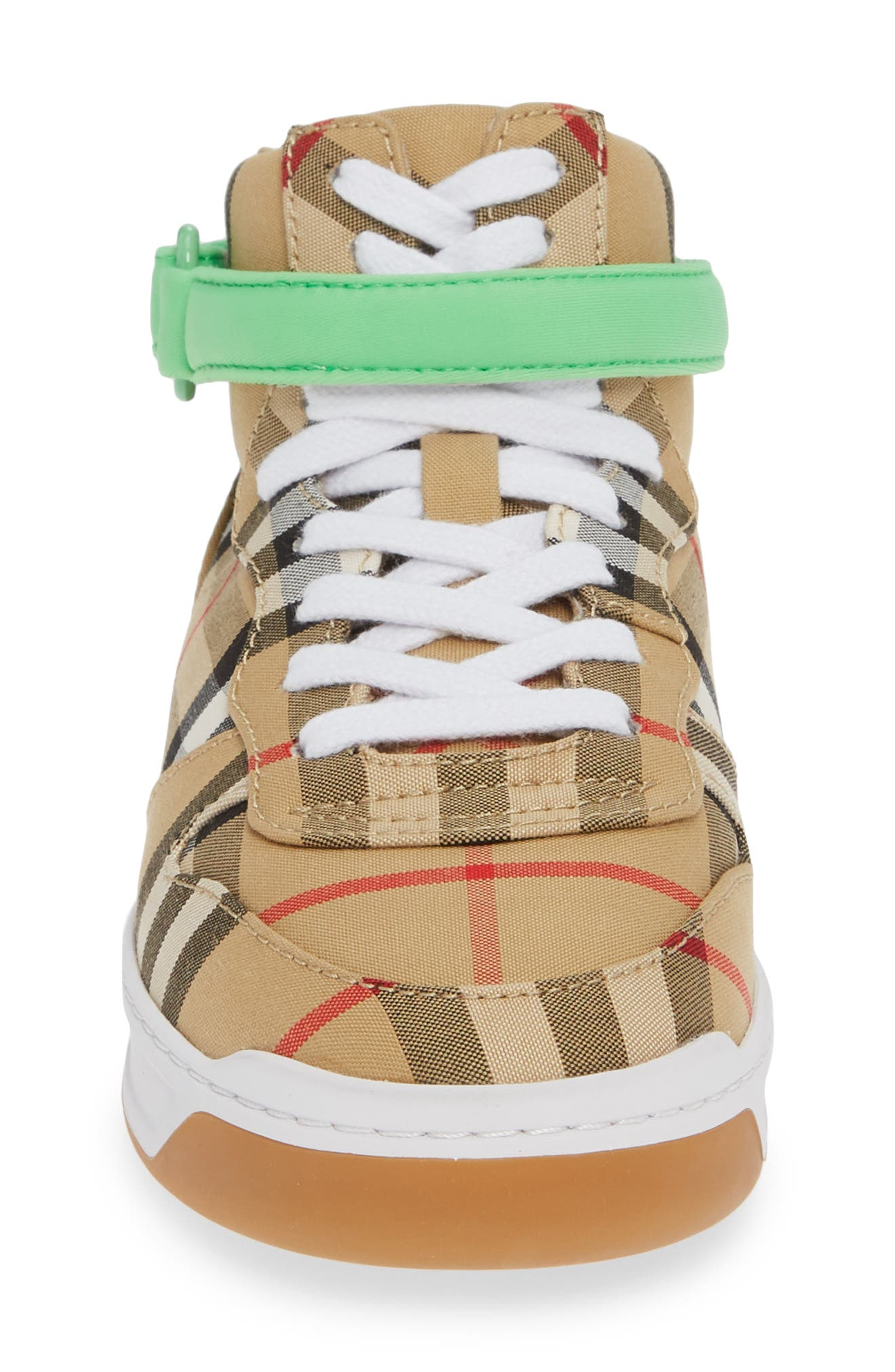 BURBERRY, Groves High Top Sneaker, Alternate thumbnail 4, color, NEON GREEN
