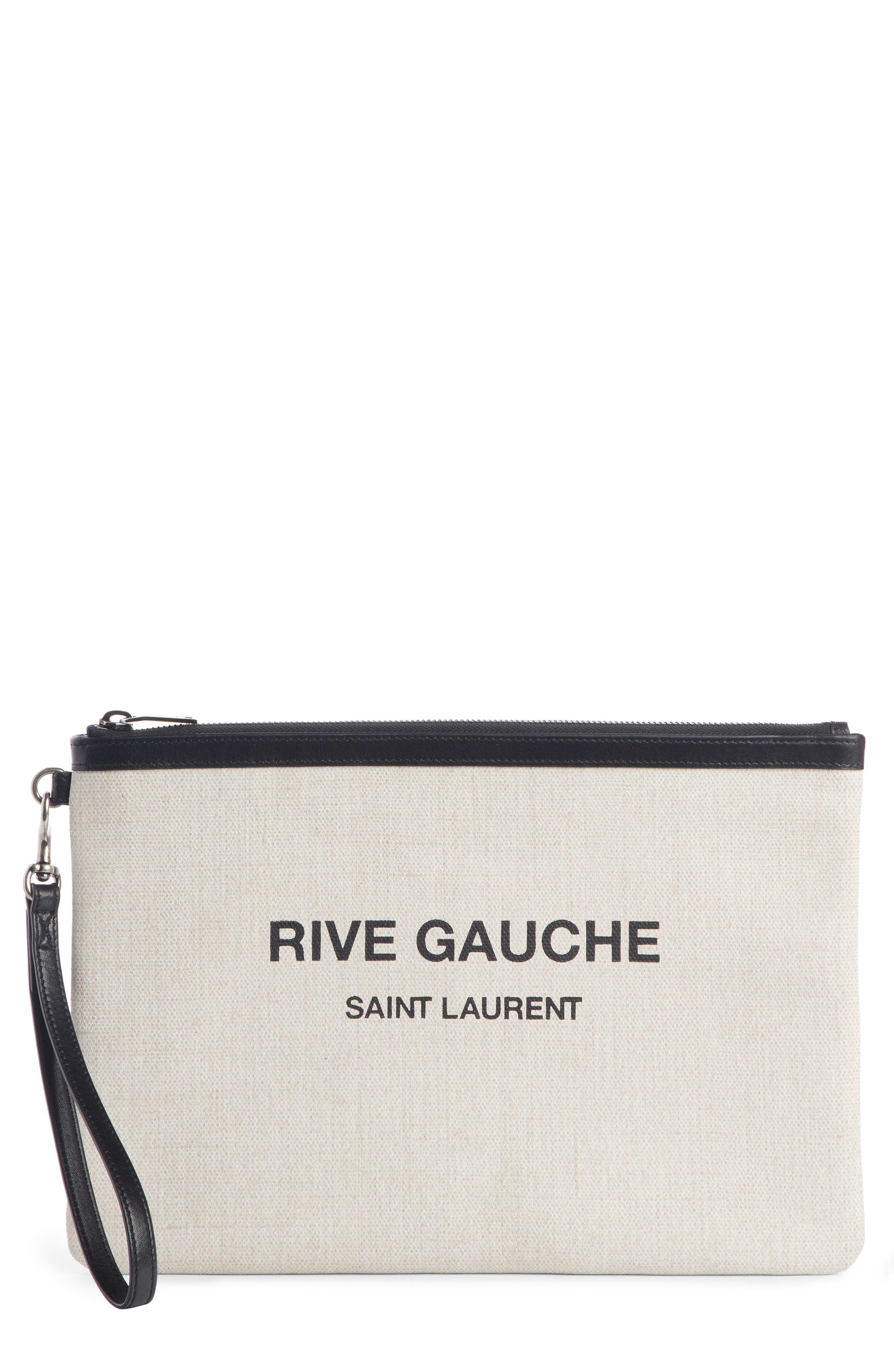 SAINT LAURENT Rive Gauche Canvas Pouch, Main, color, LINO BIANCO/ NERO
