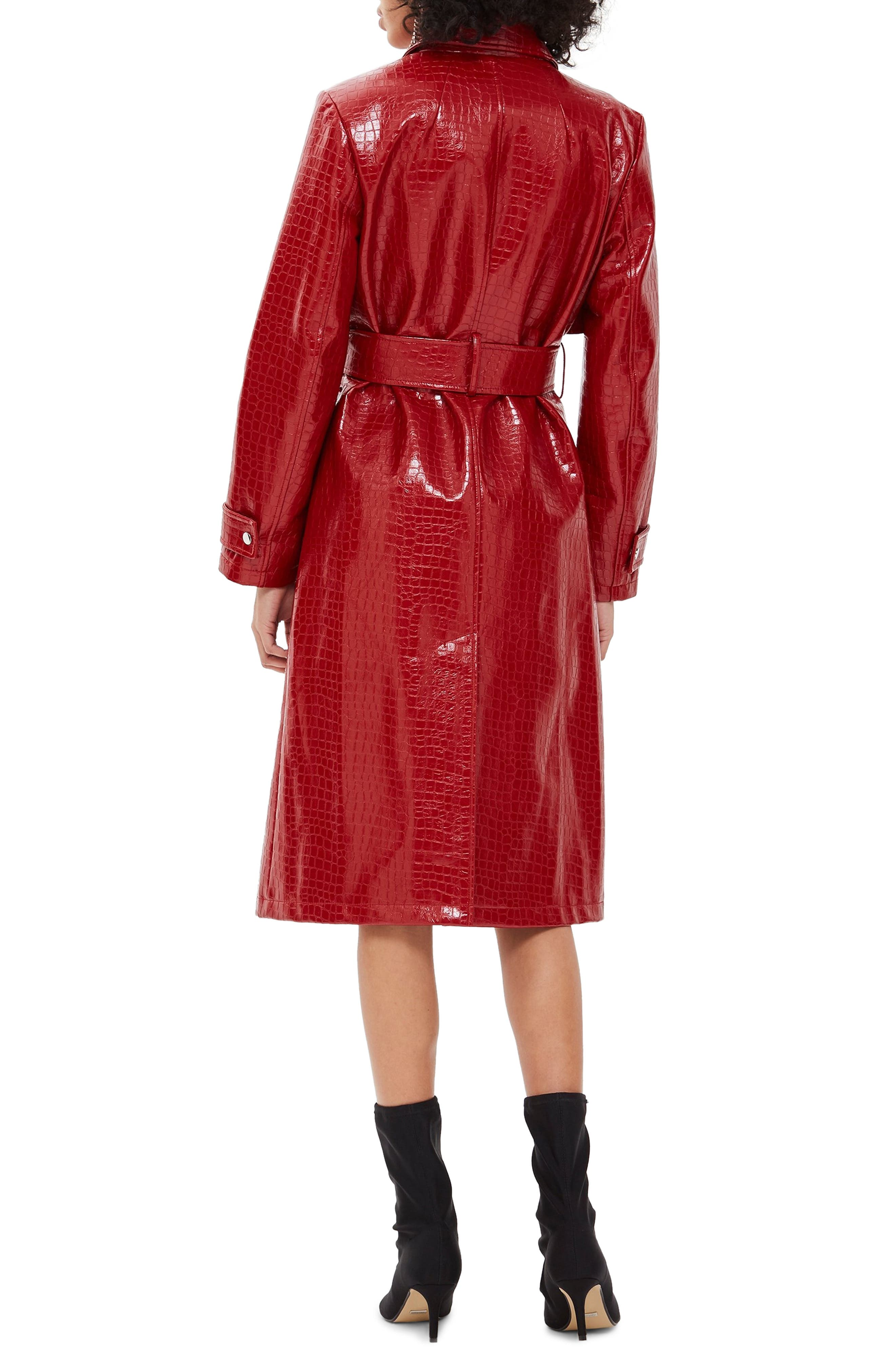 TOPSHOP, Croc-Embossed Trench Coat, Alternate thumbnail 2, color, RED