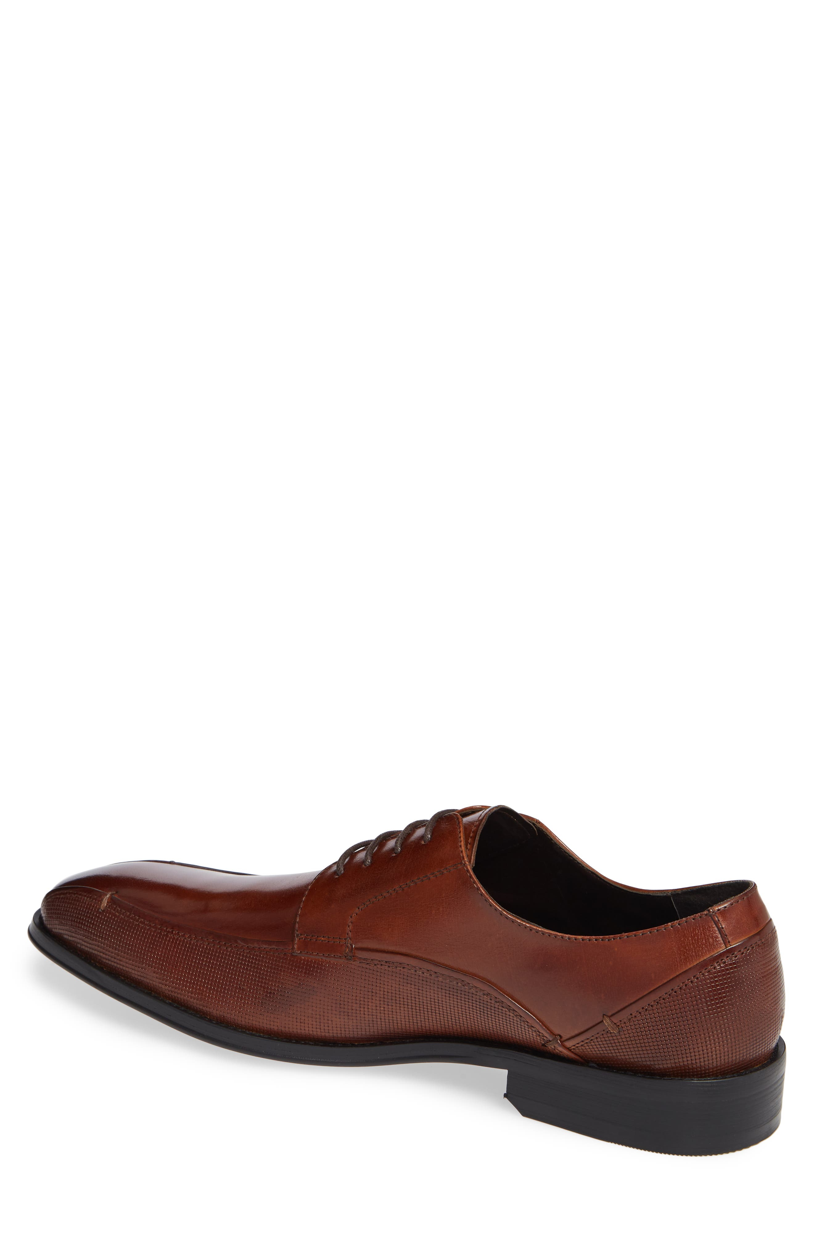 REACTION KENNETH COLE, Witter Textured Bike Toe Derby, Alternate thumbnail 2, color, COGNAC LEATHER