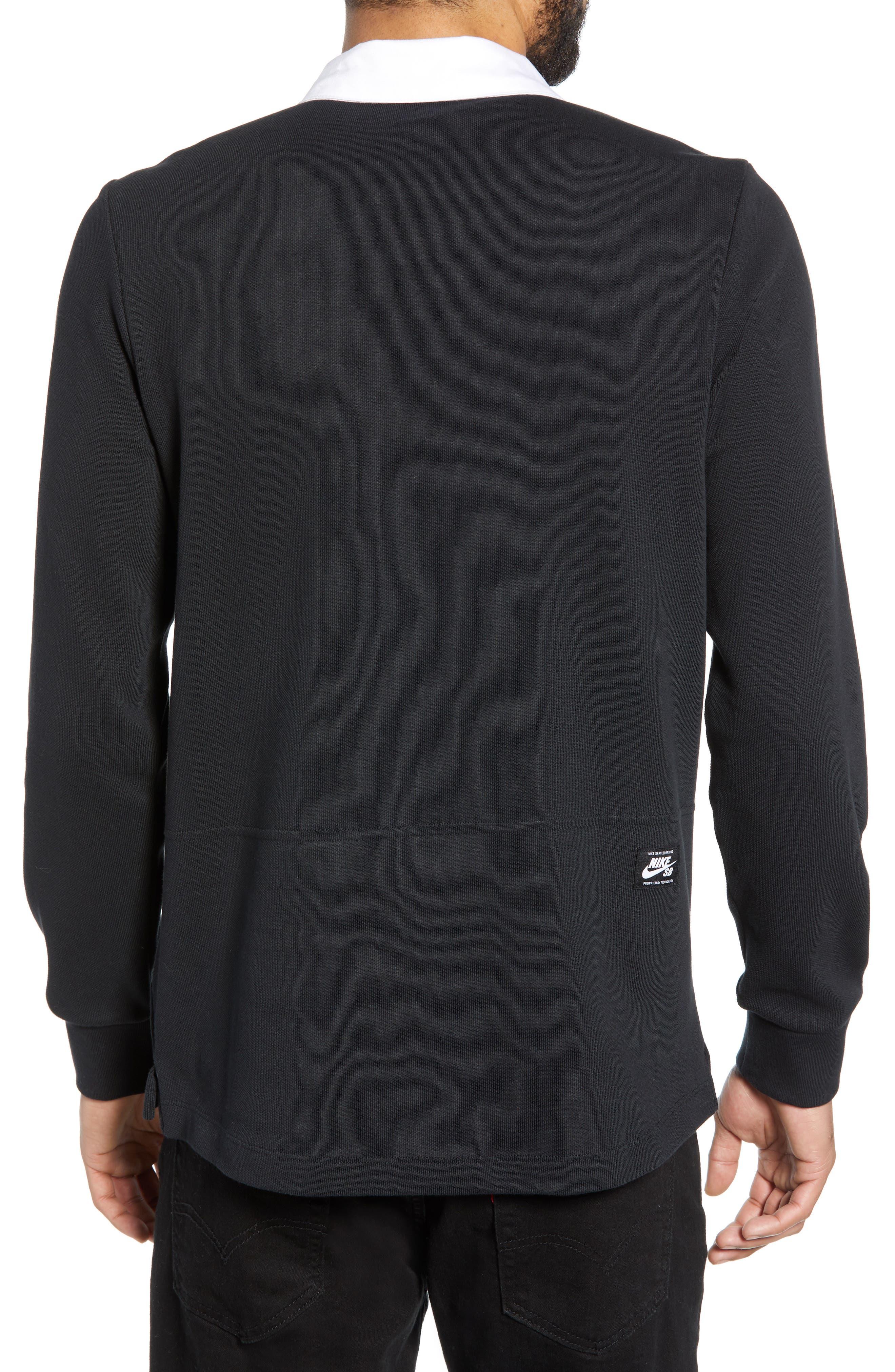 NIKE SB, Nike Dry SB Rugby Polo, Alternate thumbnail 2, color, BLACK/BLACK/BLACK/WHITE