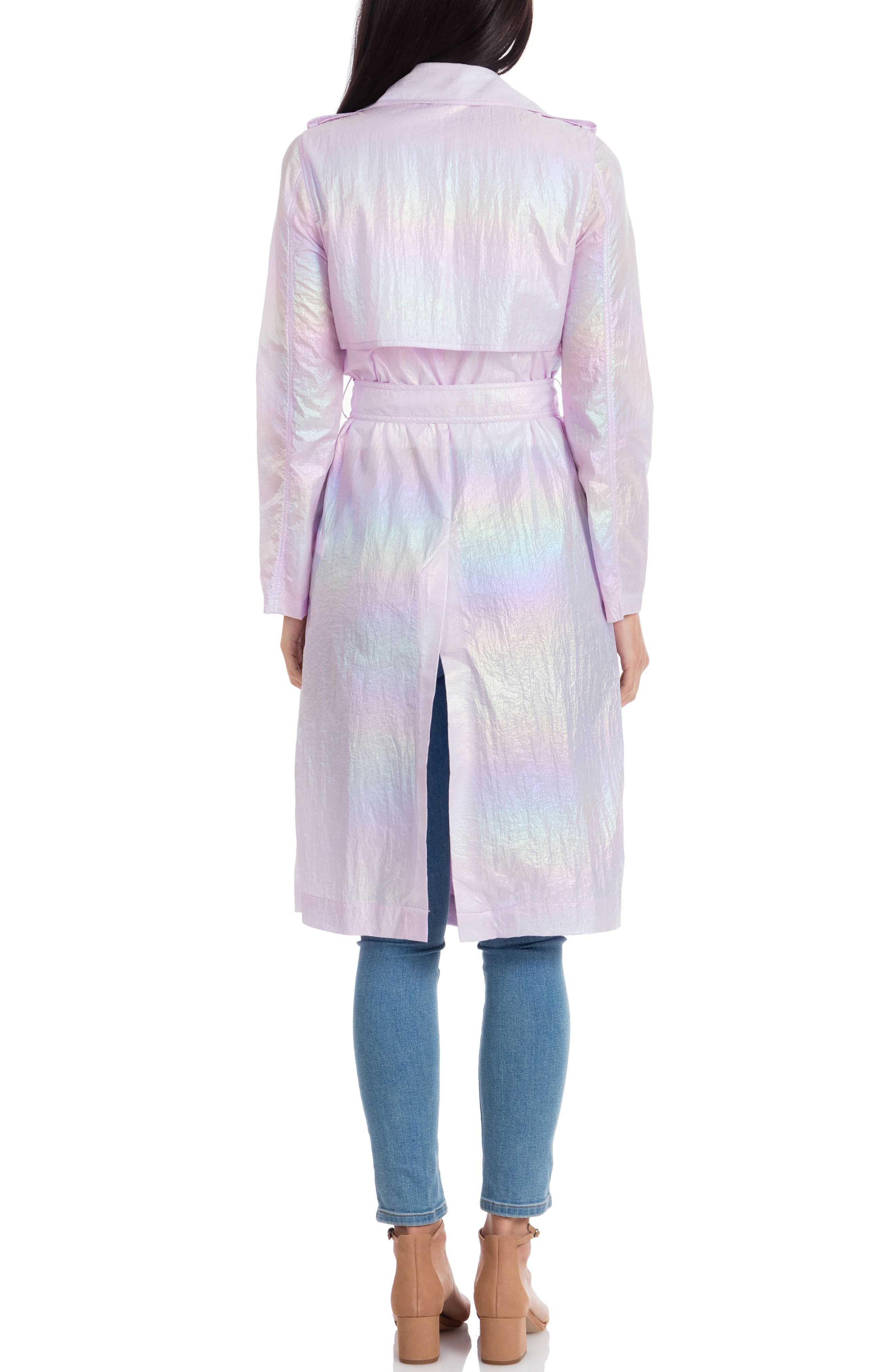 AVEC LES FILLES, Iridescent Trench Coat, Alternate thumbnail 2, color, IRIDESCENT