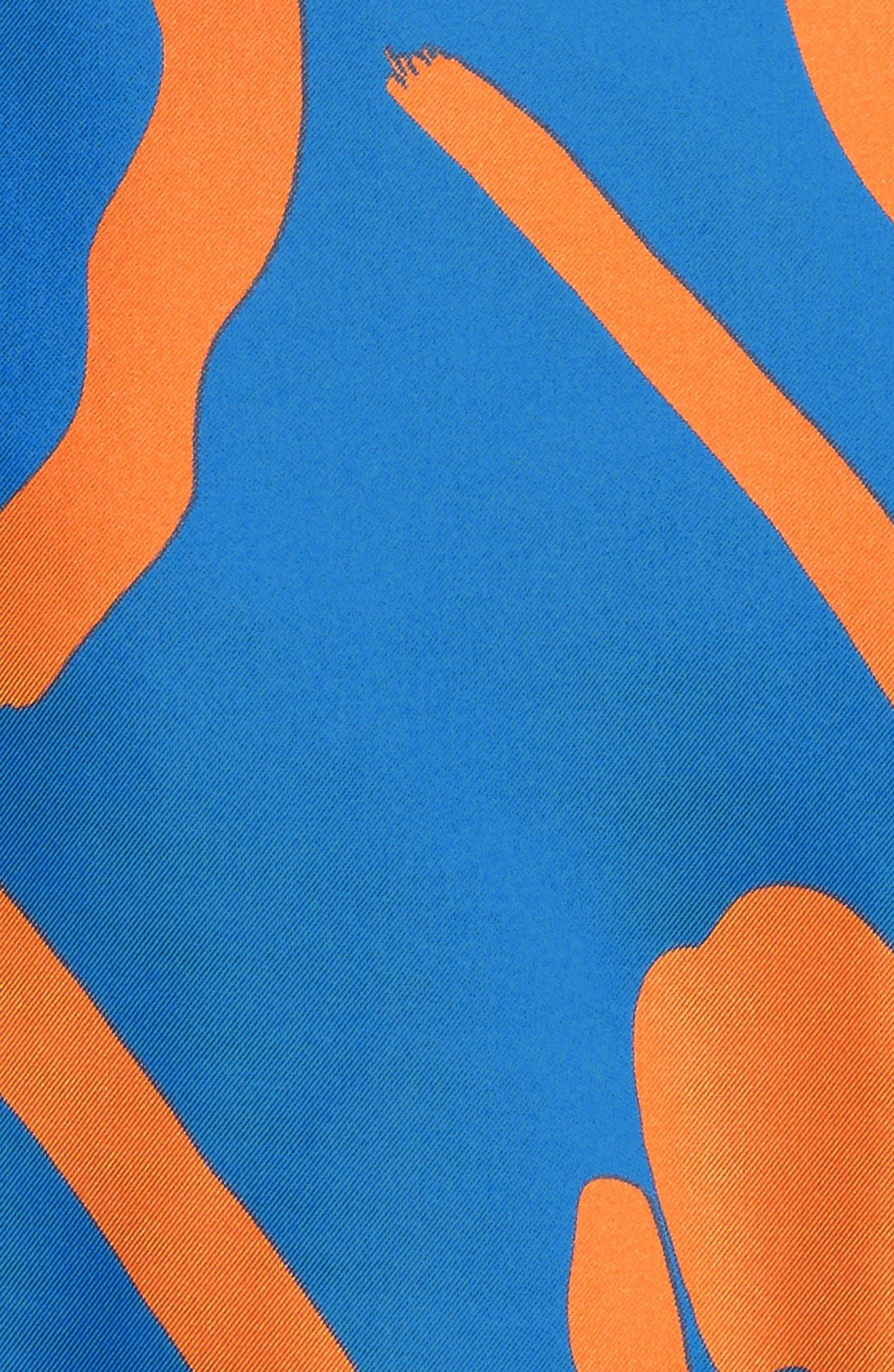 DIANE VON FURSTENBERG, Tie Front Faux Wrap Silk Dress, Alternate thumbnail 5, color, 494