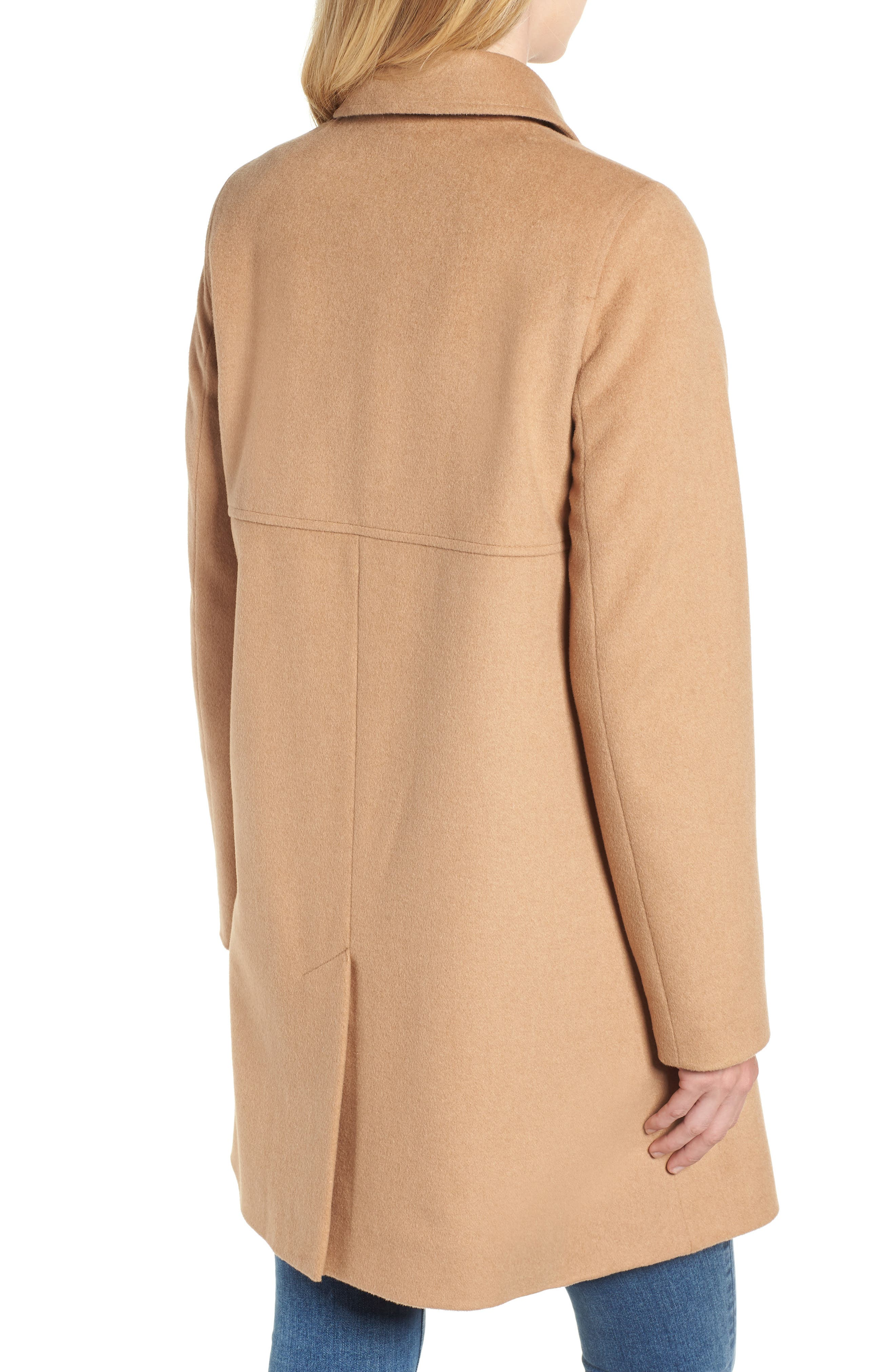 KRISTEN BLAKE, Wool Walking Coat, Alternate thumbnail 2, color, CAMEL