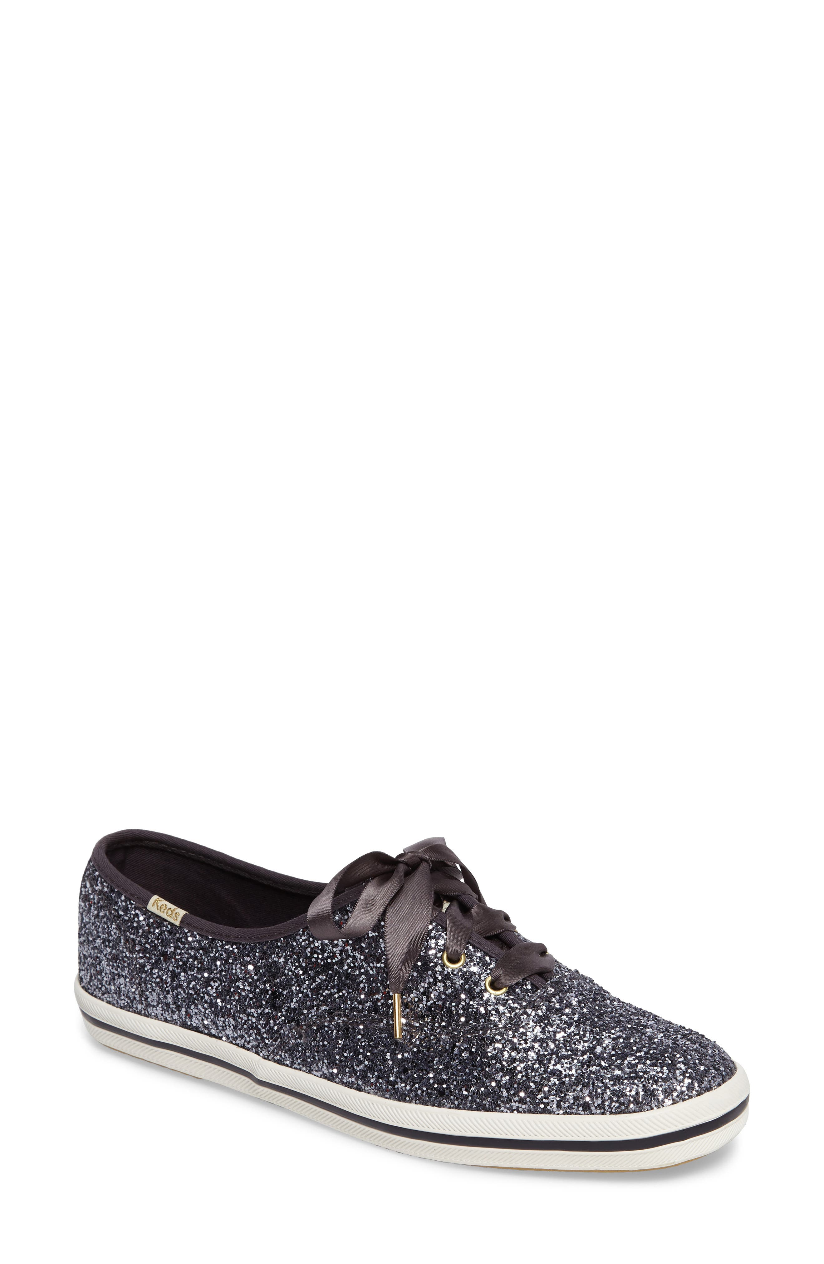 KEDS<SUP>®</SUP> FOR KATE SPADE NEW YORK glitter sneaker, Main, color, PEWTER