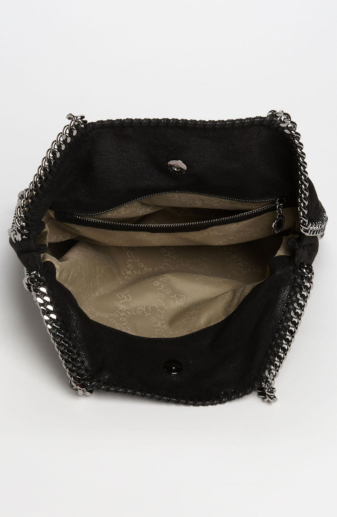 STELLA MCCARTNEY, 'Falabella - Shaggy Deer' Faux Leather Foldover Tote, Alternate thumbnail 4, color, BLACK