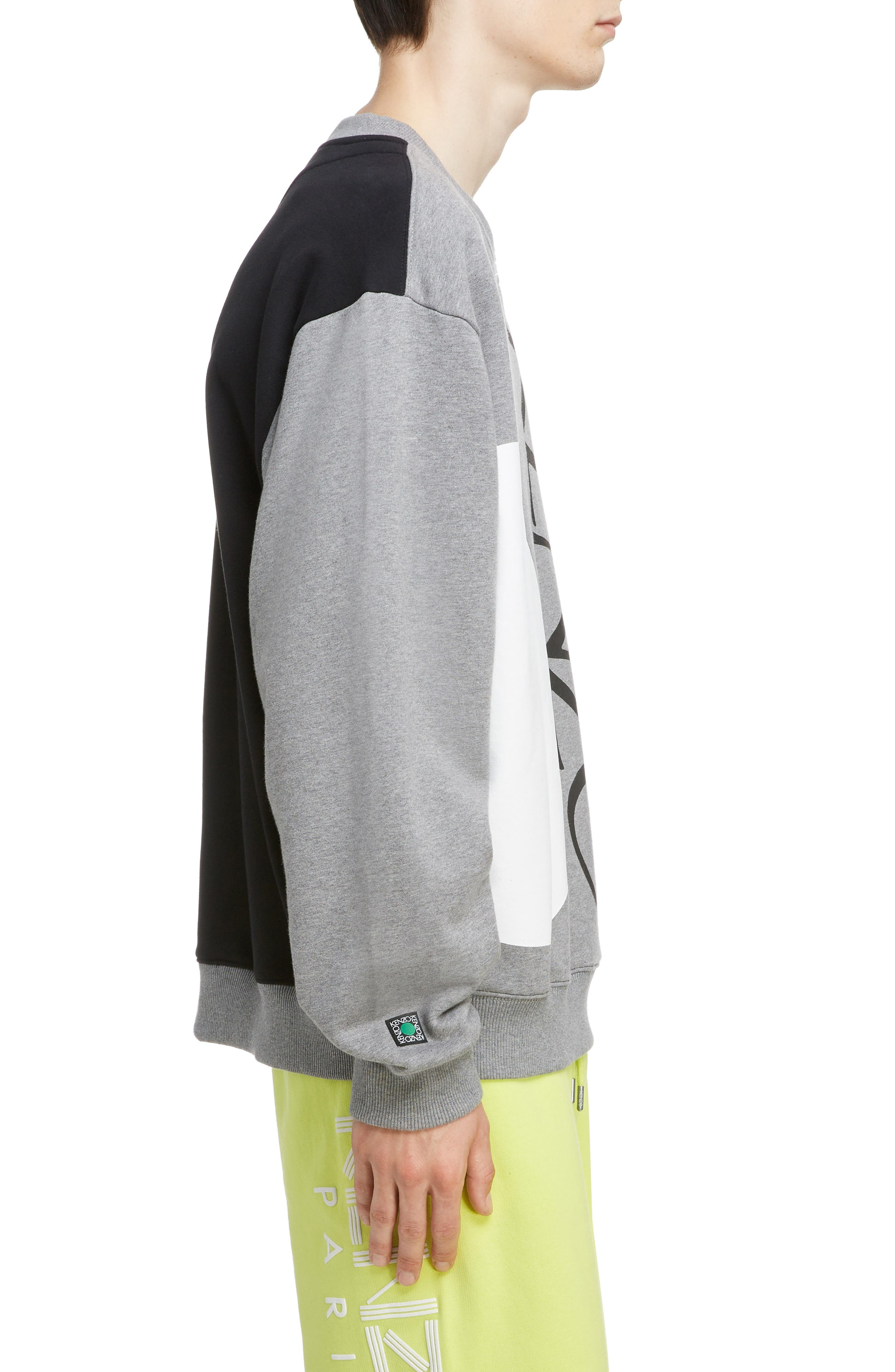 KENZO, Oversize Colorblock Sweatshirt, Alternate thumbnail 3, color, DOVE GREY