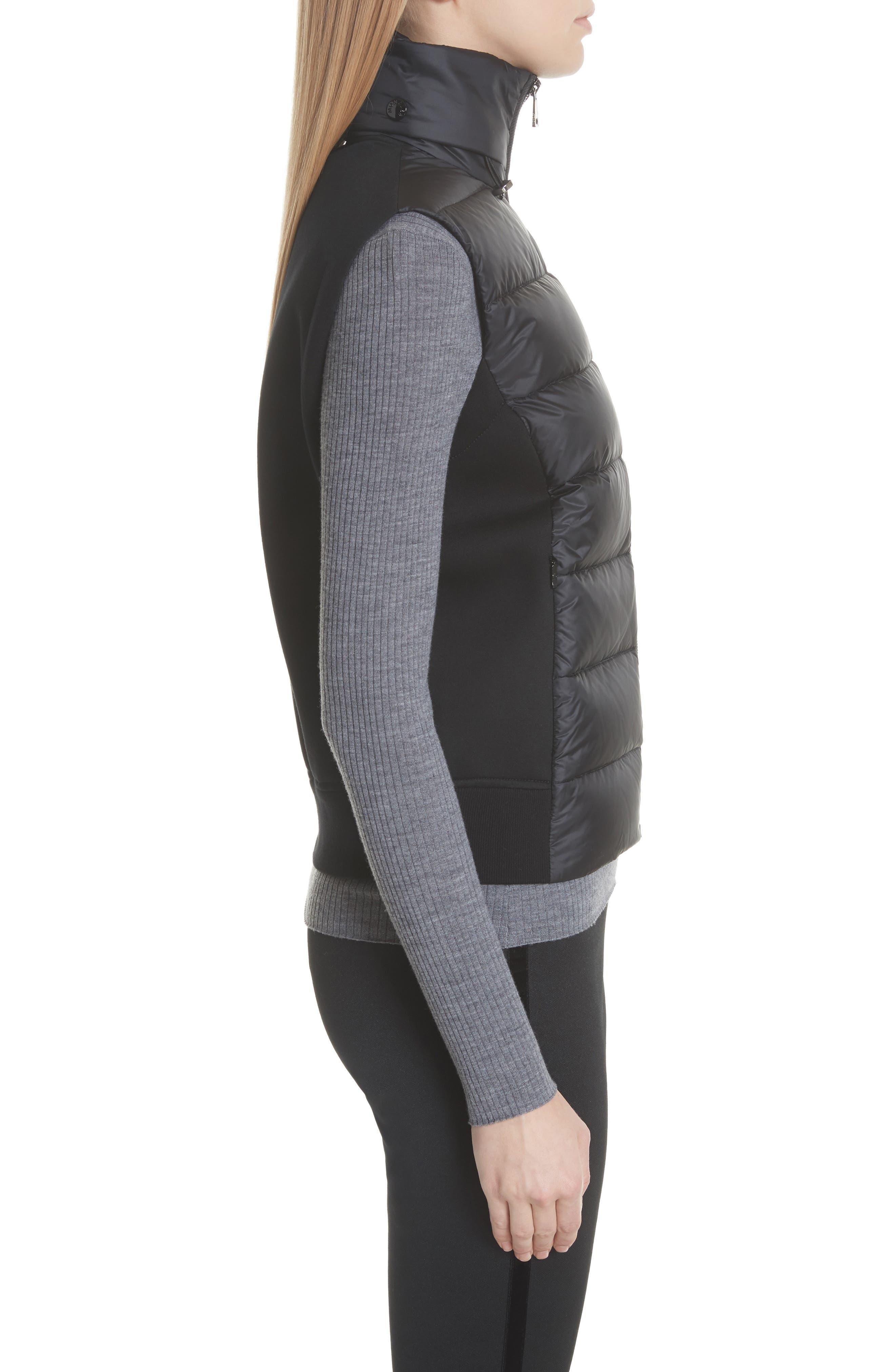 MONCLER, Down Quilted Fleece Vest, Alternate thumbnail 3, color, 001
