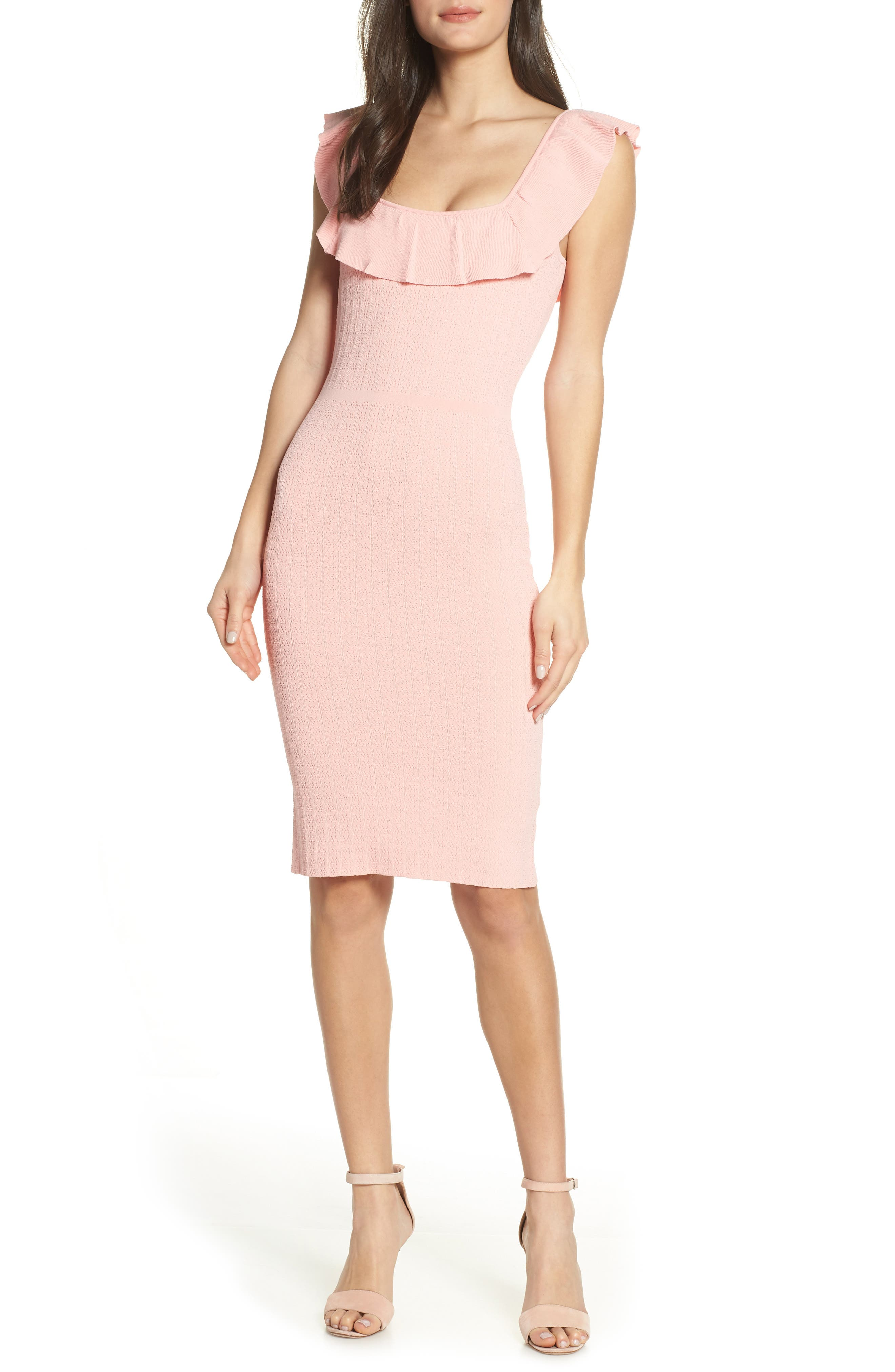 ALI & JAY, Fairy Tale Body-Con Sweater Dress, Main thumbnail 1, color, BUBBLE GUM