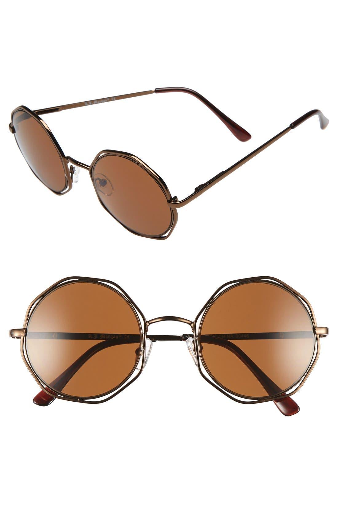 A.J. MORGAN 'Clayton' 48mm Octagon Wire Sunglasses, Main, color, 220