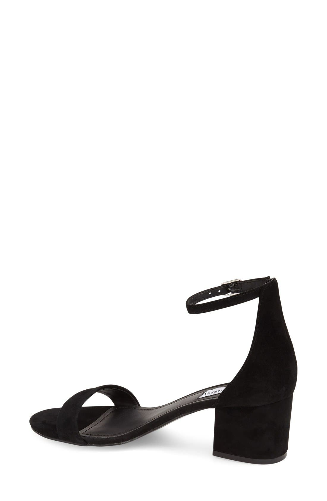 STEVE MADDEN, Irenee Ankle Strap Sandal, Alternate thumbnail 3, color, BLACK SUEDE
