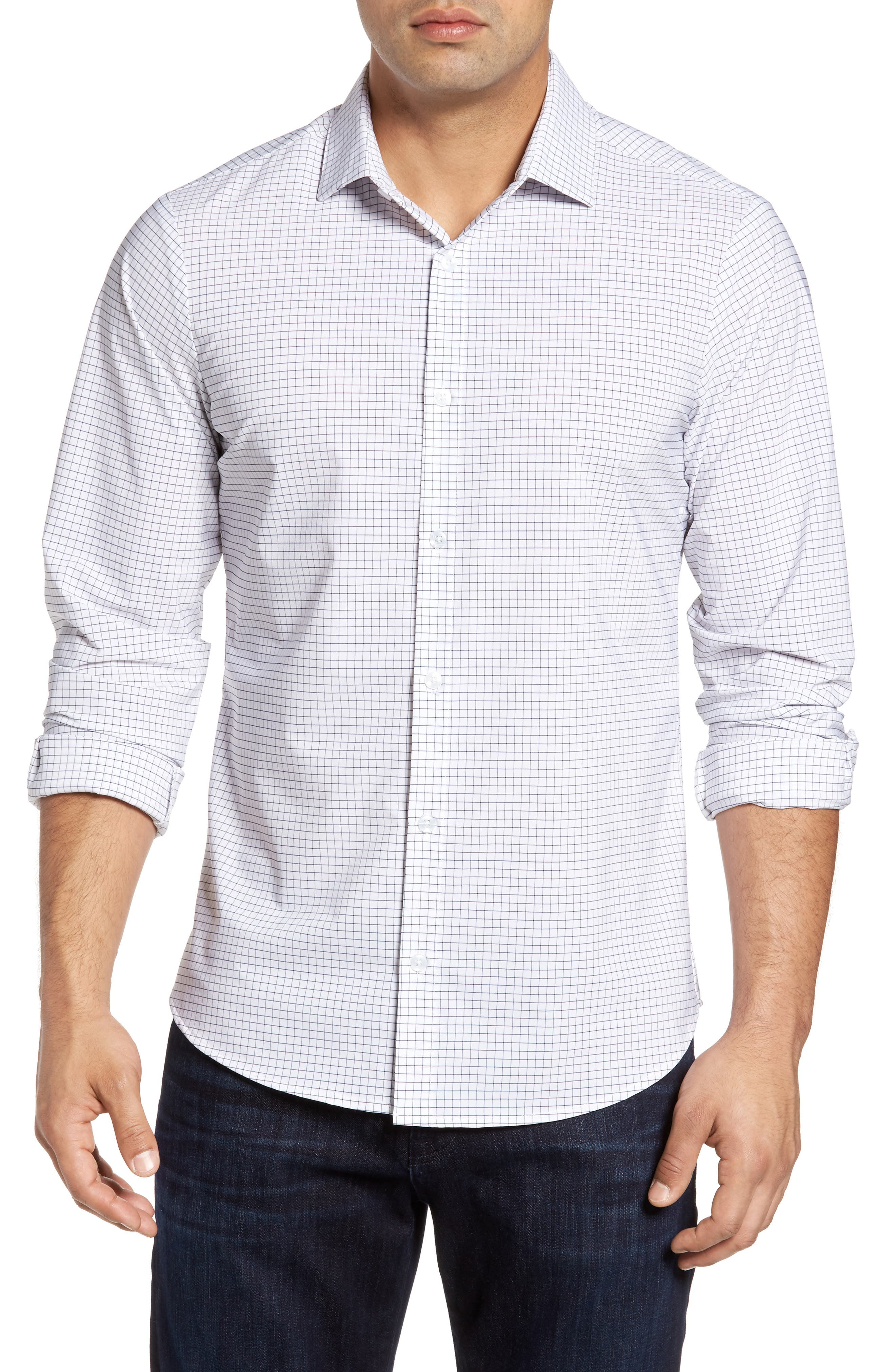 MIZZEN+MAIN Kennedy Trim Fit Windowpane Sport Shirt, Main, color, WHITE