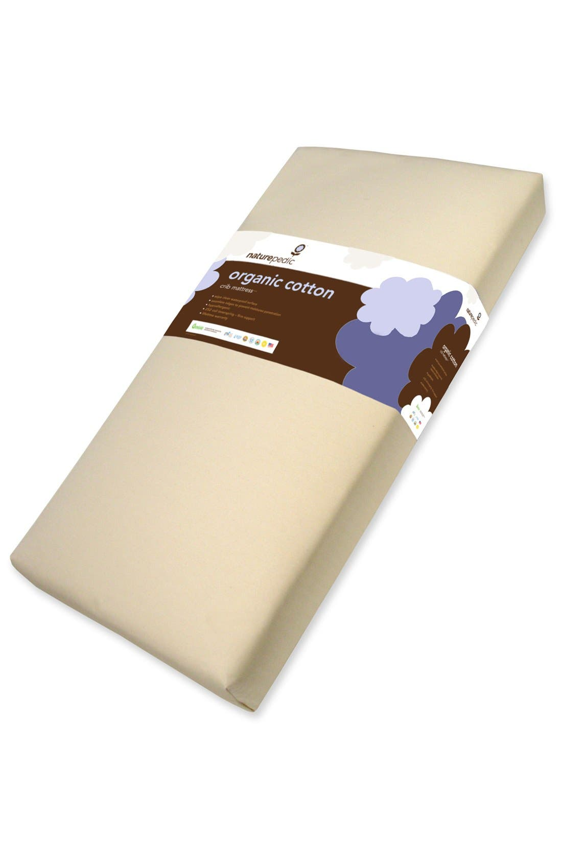 NATUREPEDIC, Lightweight Organic Cotton Ultra 2-Stage Crib Mattress, Main thumbnail 1, color, NATURAL