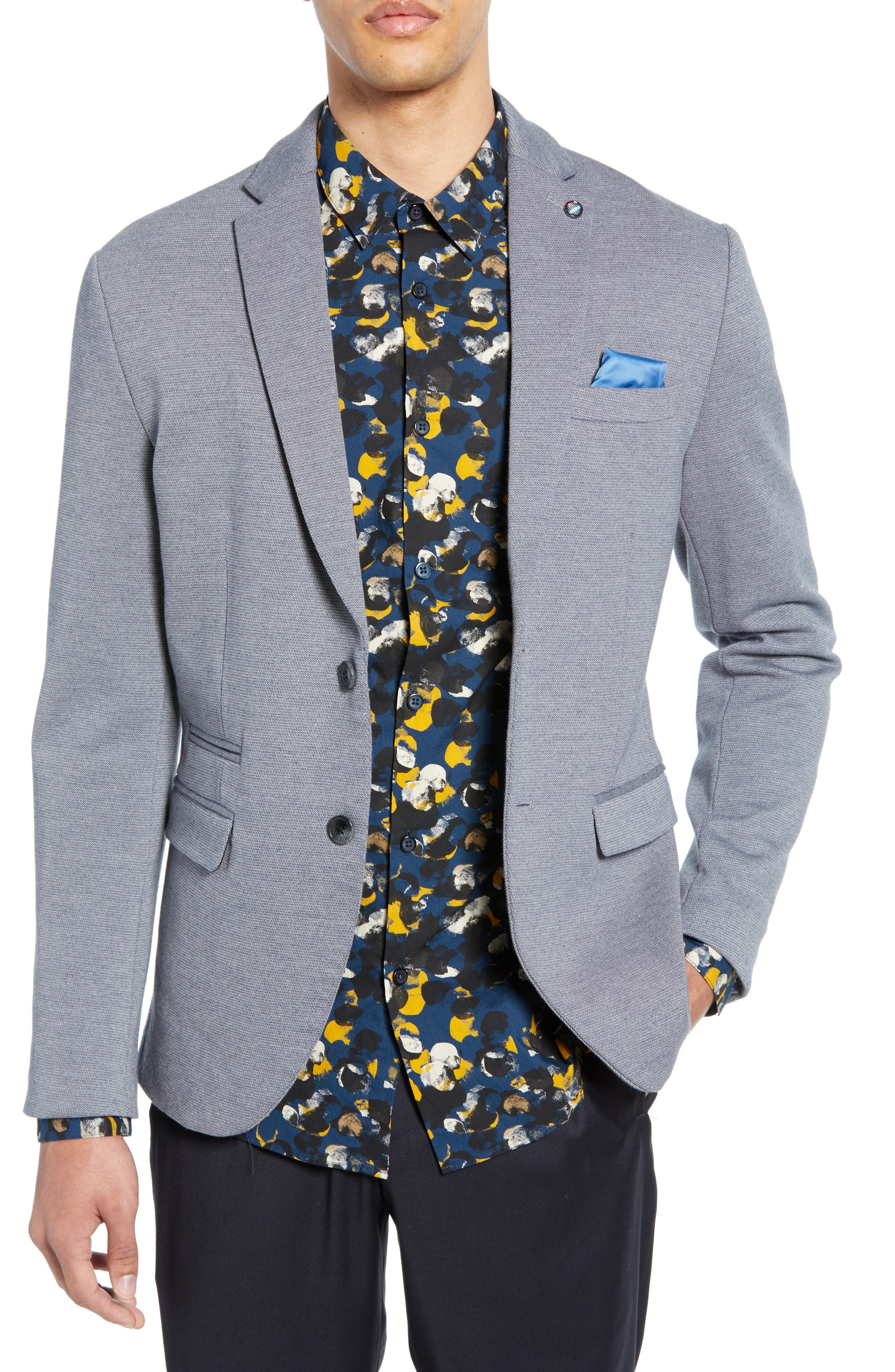 SELECTED HOMME, Slim Fit Sport Coat, Main thumbnail 1, color, GREY MELANGE