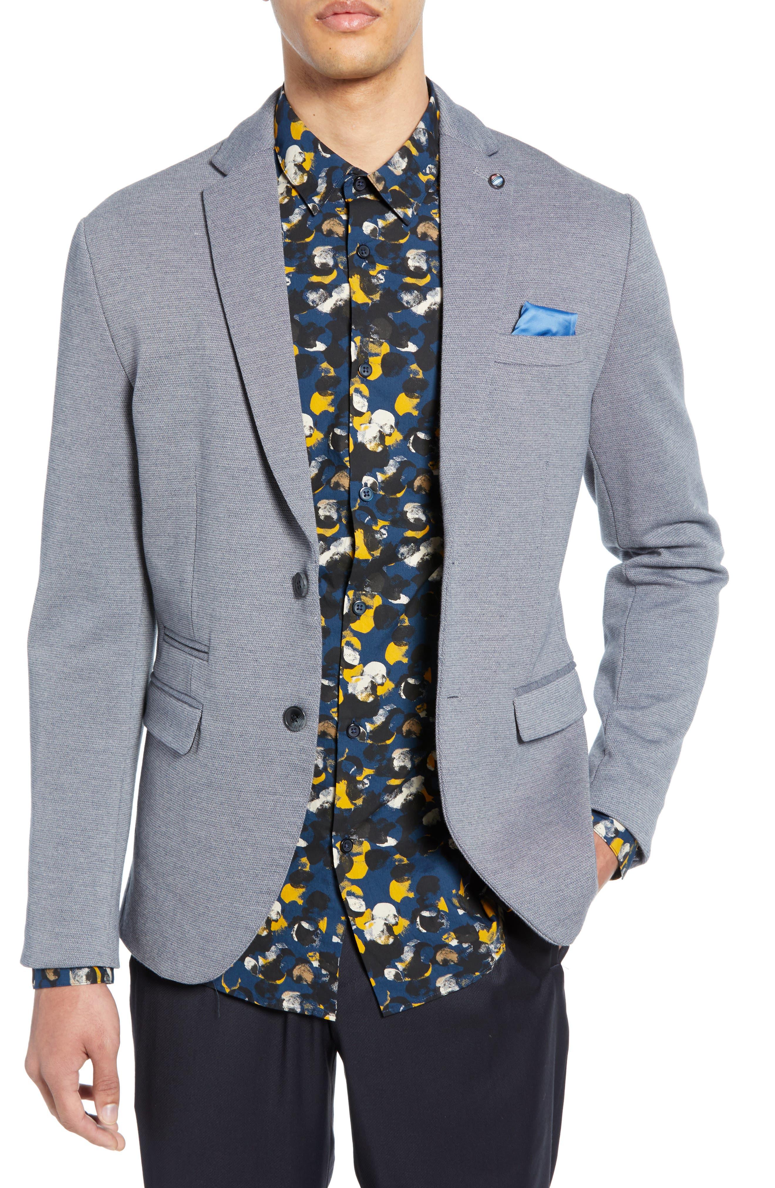 SELECTED HOMME Slim Fit Sport Coat, Main, color, GREY MELANGE