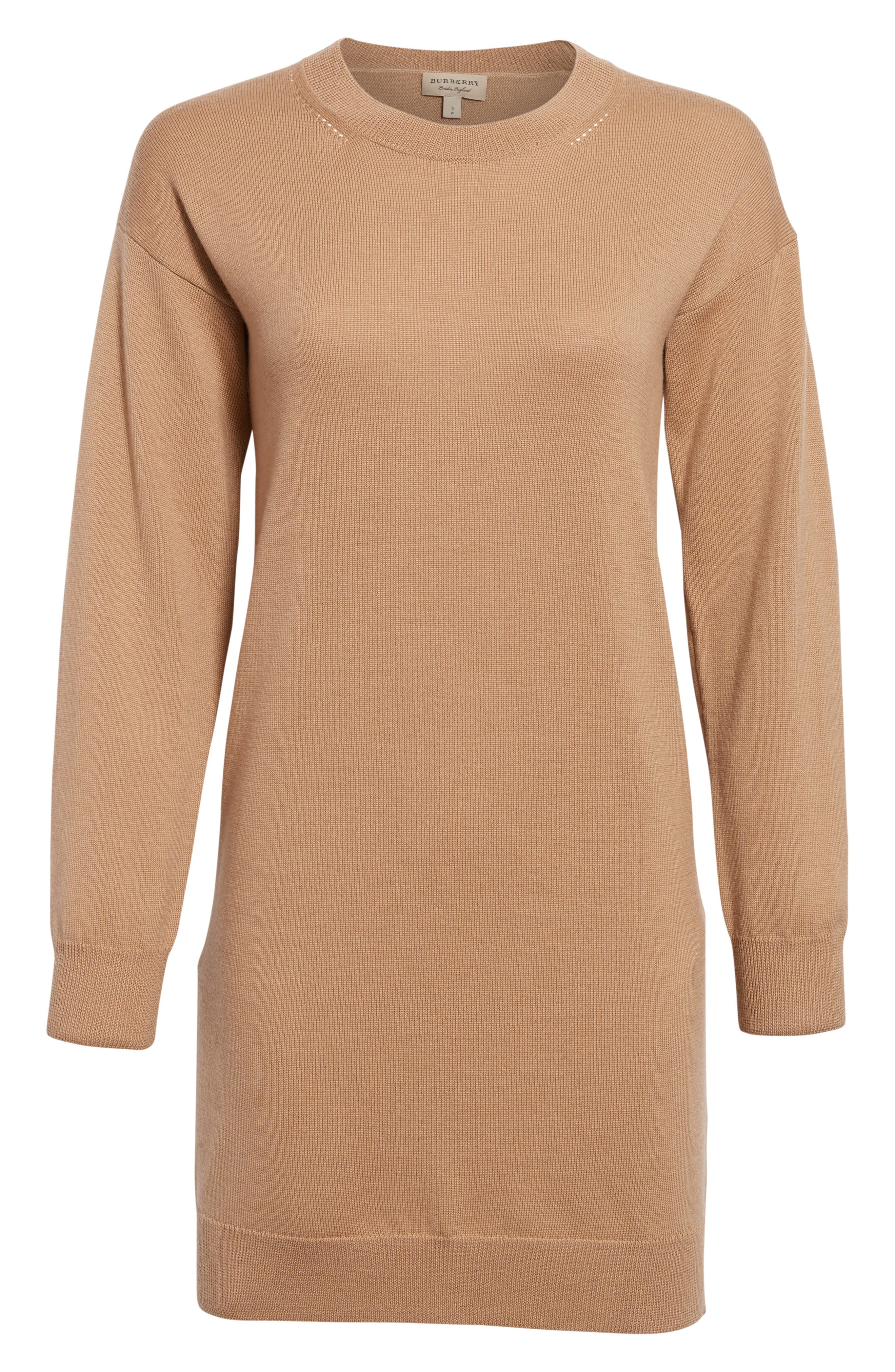 BURBERRY, Alewater Elbow Patch Merino Wool Dress, Alternate thumbnail 7, color, CAMEL