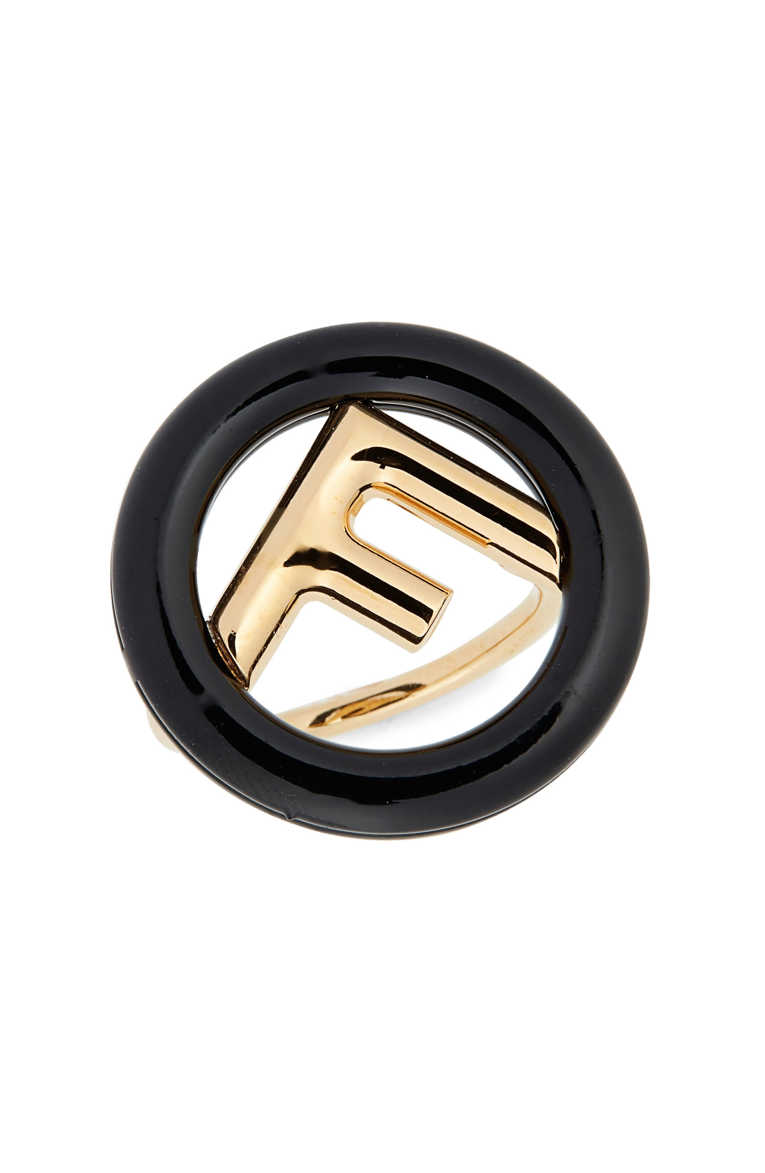 FENDI, F is For Fendi Statement Ring, Main thumbnail 1, color, BLACK