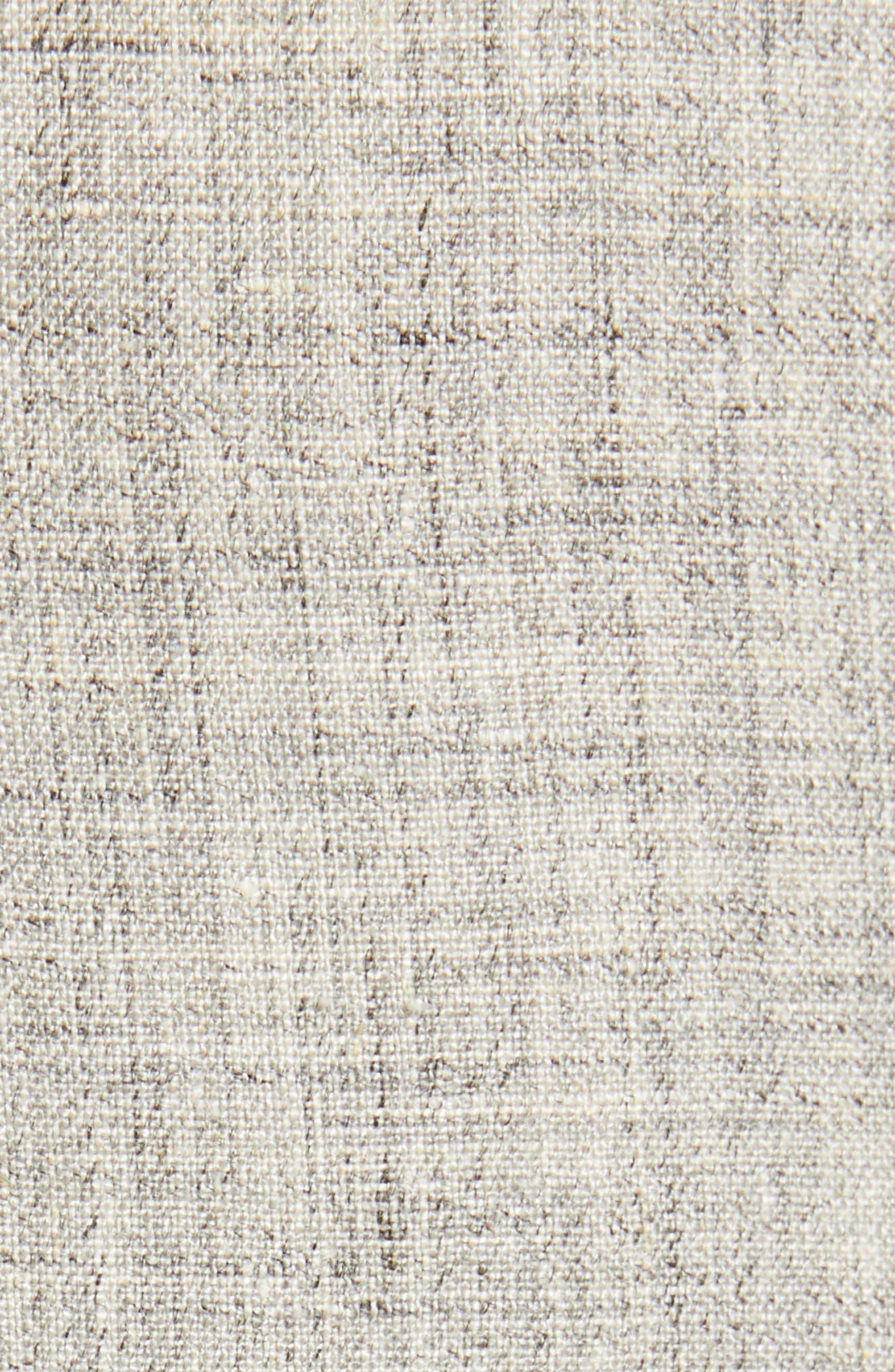 NORDSTROM MEN'S SHOP, Flat Front Mélange Linen Trousers, Alternate thumbnail 6, color, LIGHT GREY