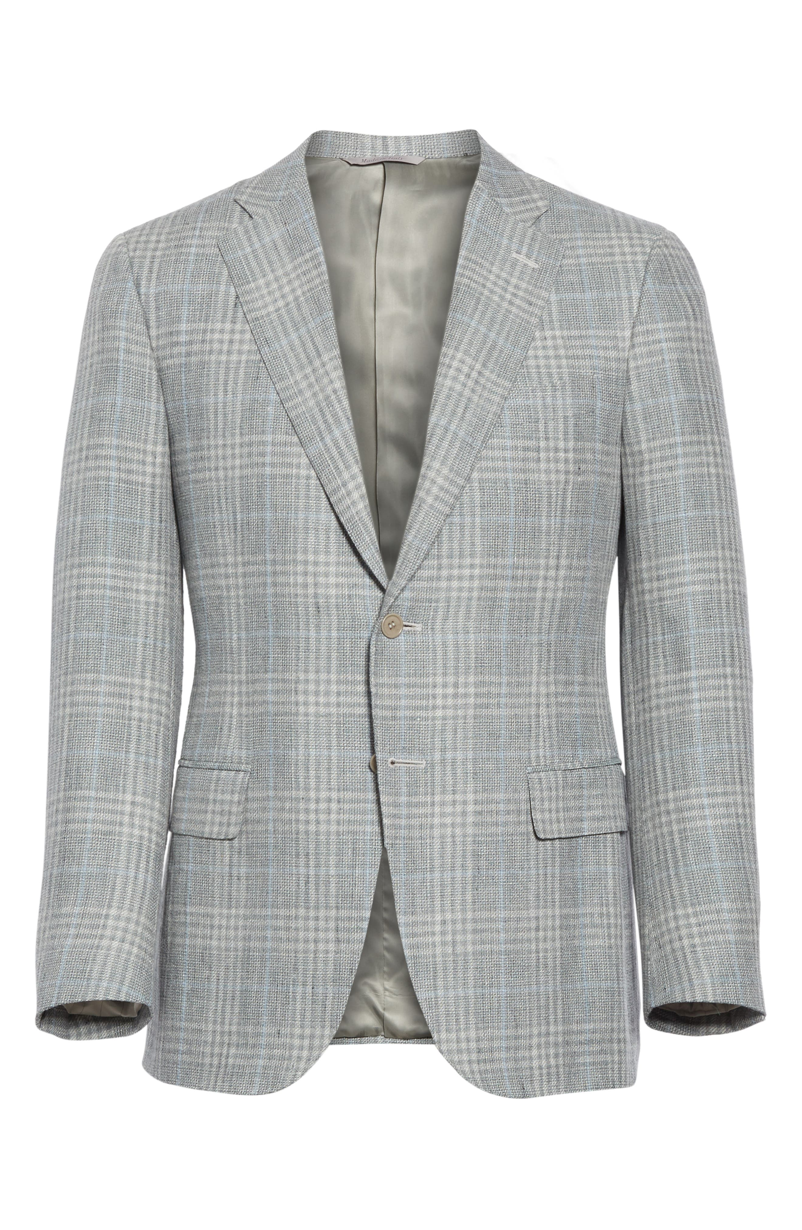 CANALI, Sienna Classic Fit Plaid Linen & Wool Sport Coat, Alternate thumbnail 5, color, LIGHT GREEN