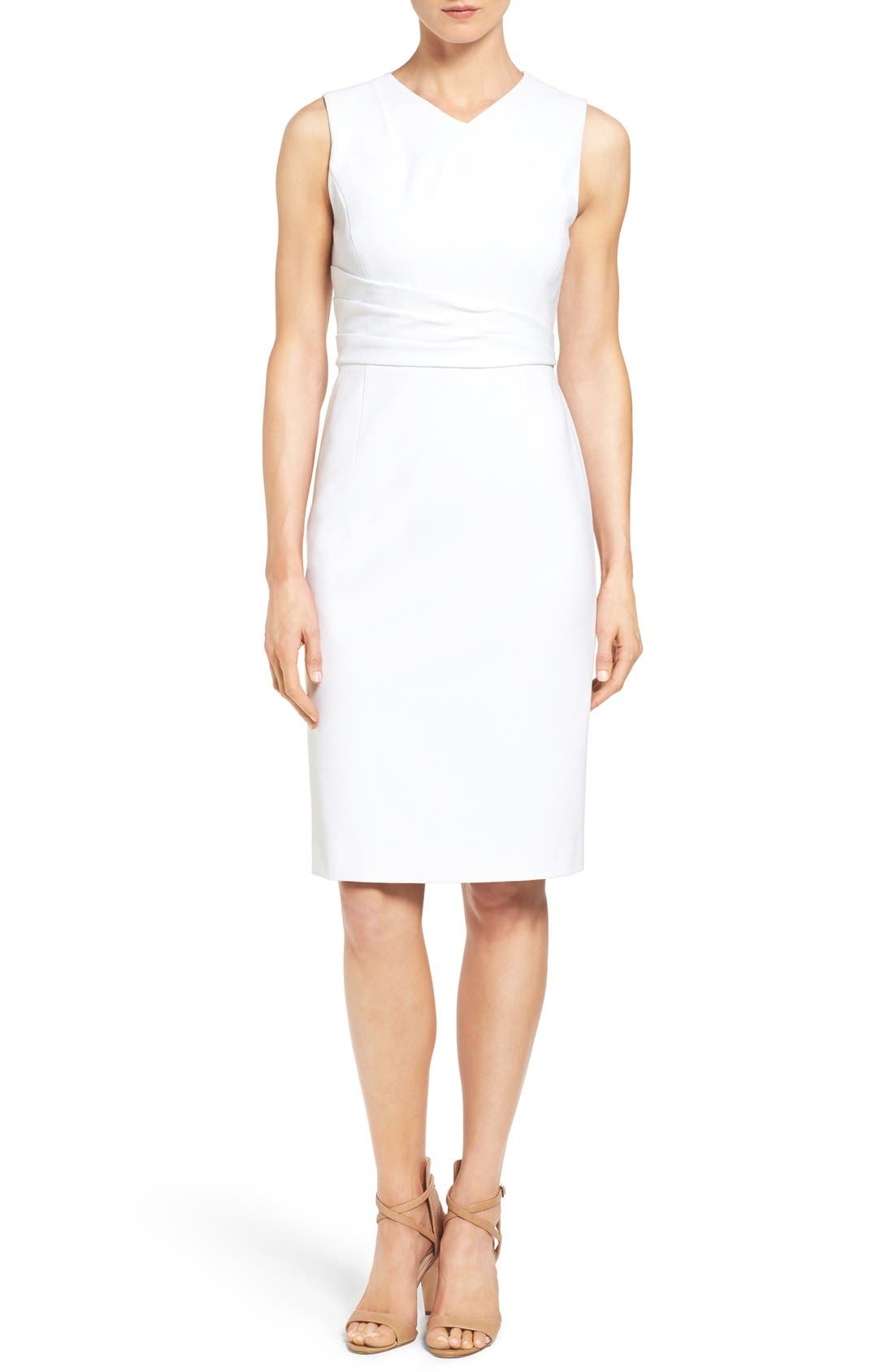 CLASSIQUES ENTIER<SUP>®</SUP>, Pleat Waist Sleeveless Ponte Sheath Dress, Main thumbnail 1, color, 100