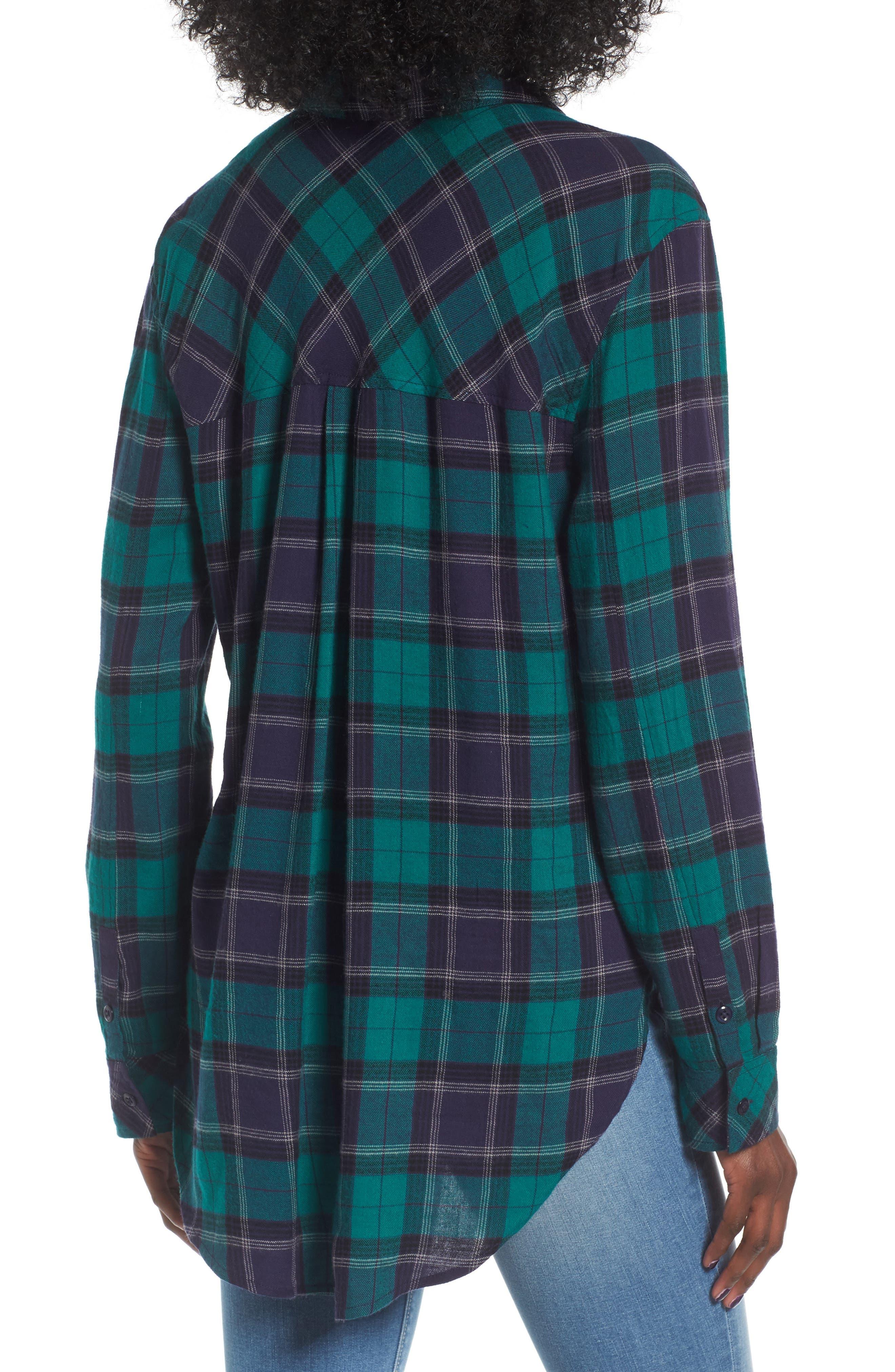 BP., Plaid Cotton Blend Shirt, Alternate thumbnail 2, color, 301