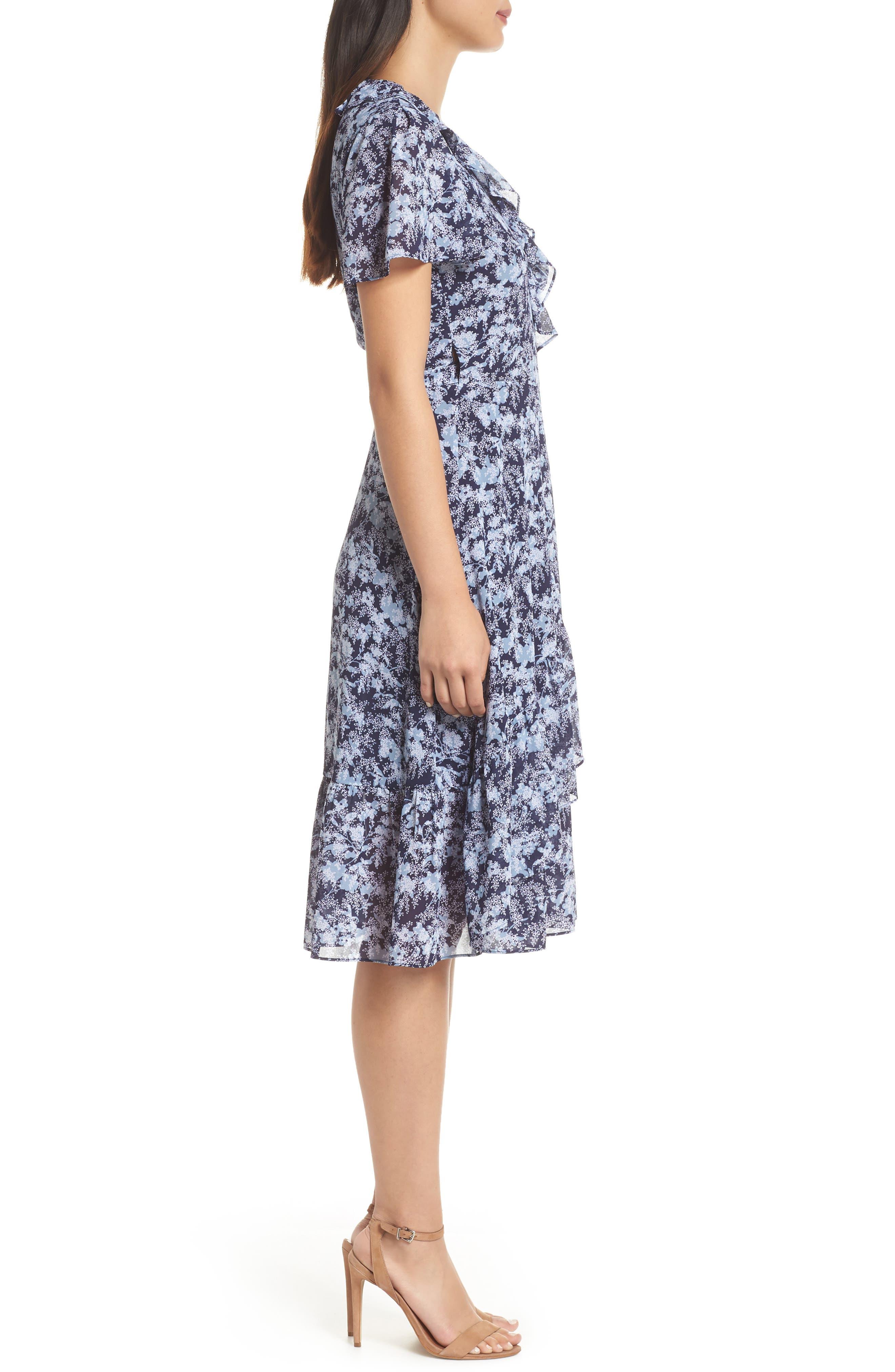 MICHAEL MICHAEL KORS, Ruffle Wrap Dress, Alternate thumbnail 4, color, TRUE NAVY/CHAMBRAY
