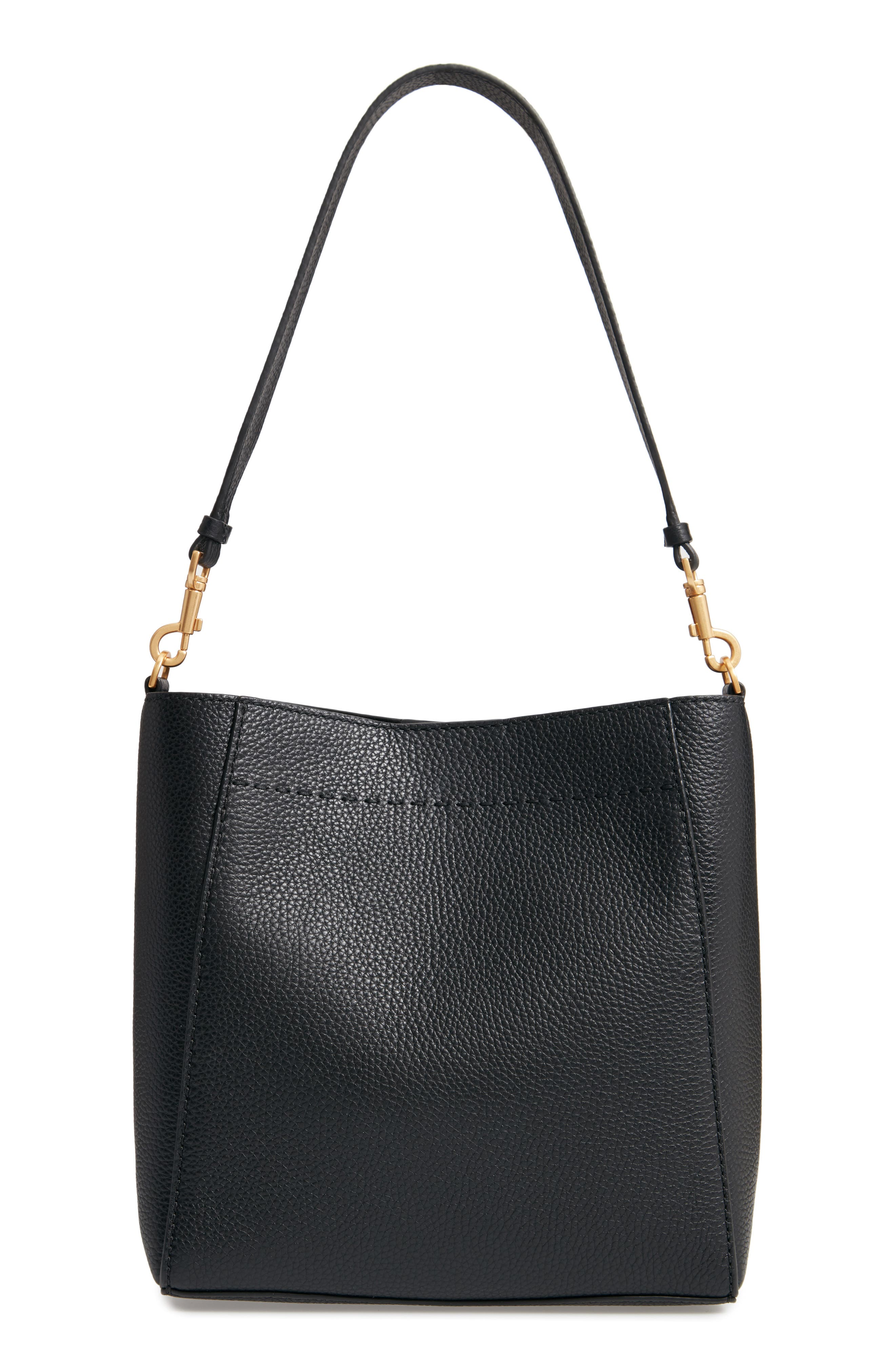 TORY BURCH, McGraw Leather Hobo, Alternate thumbnail 5, color, BLACK