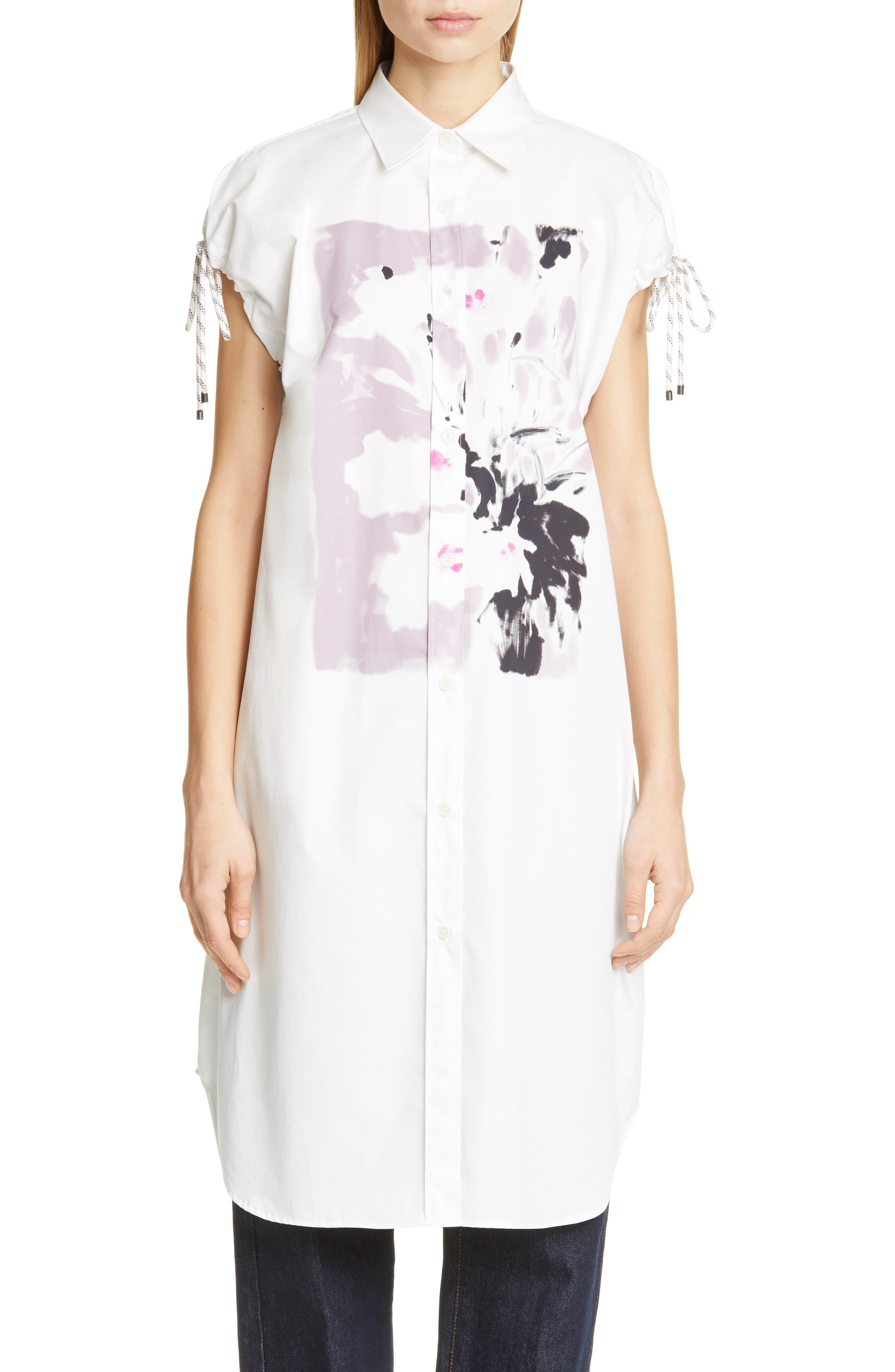 DRIES VAN NOTEN, Dantia Floral Print Cotton Shirt, Main thumbnail 1, color, LILAC