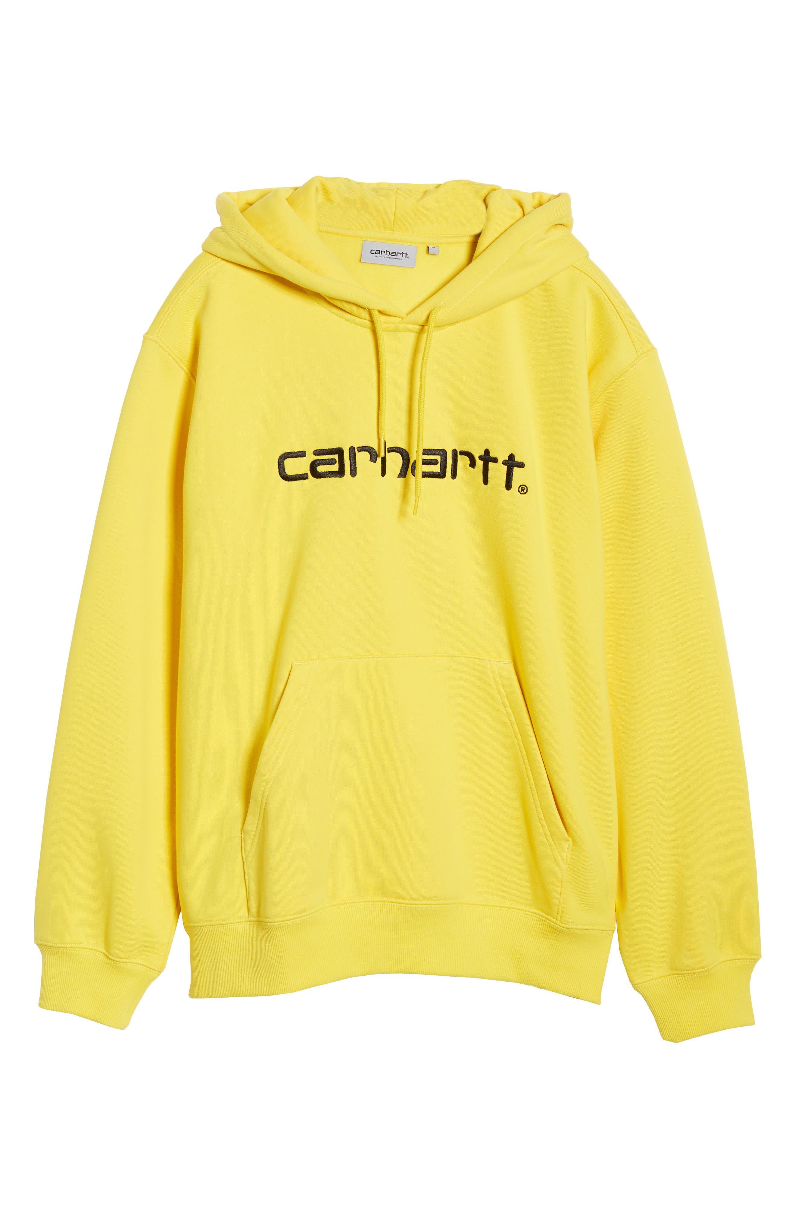 CARHARTT WORK IN PROGRESS, Hooded Sweatshirt, Alternate thumbnail 6, color, PRIMULA / BLACK
