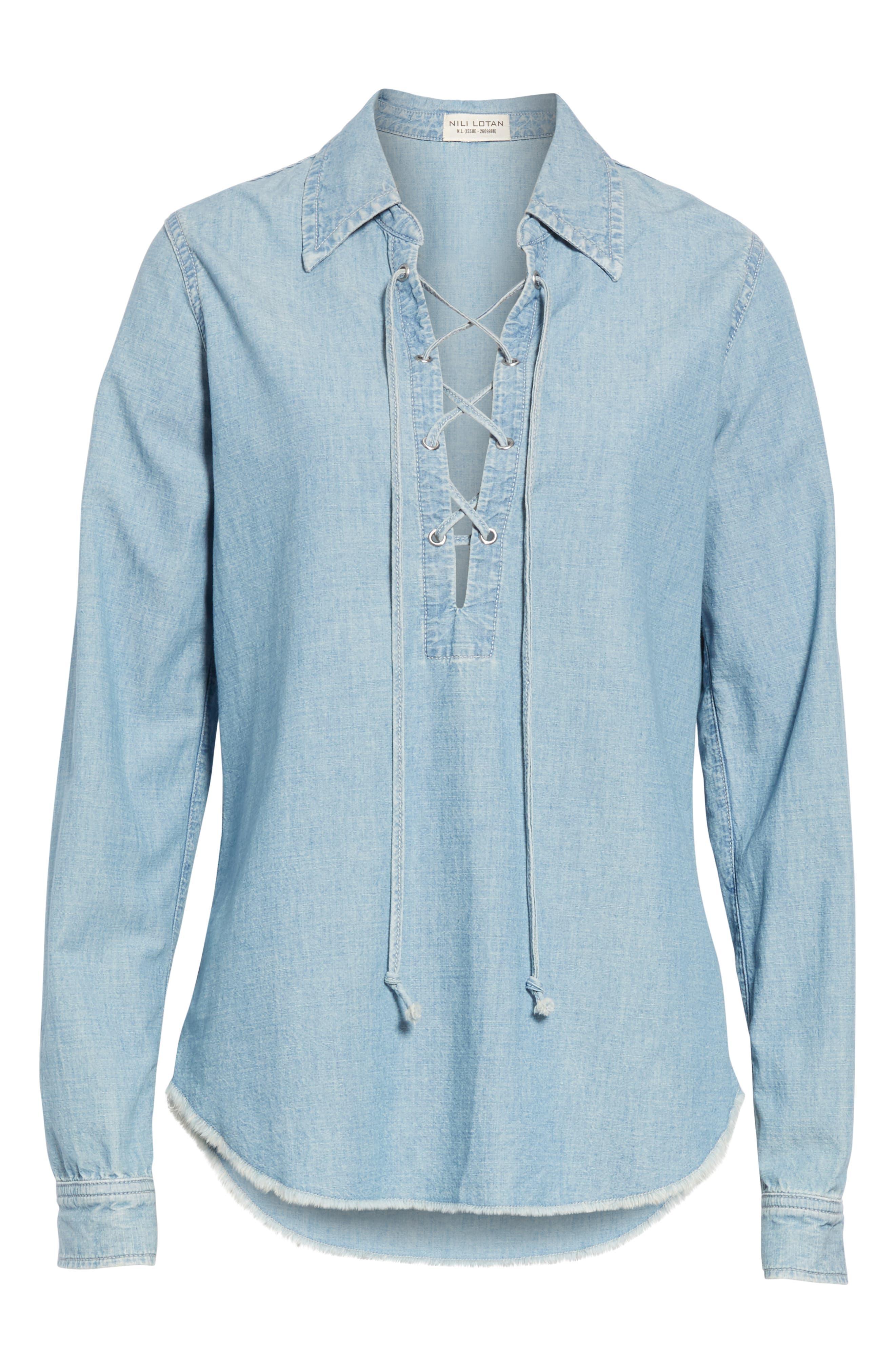 NILI LOTAN, Mallory Chambray Shirt, Alternate thumbnail 6, color, SKY BLUE