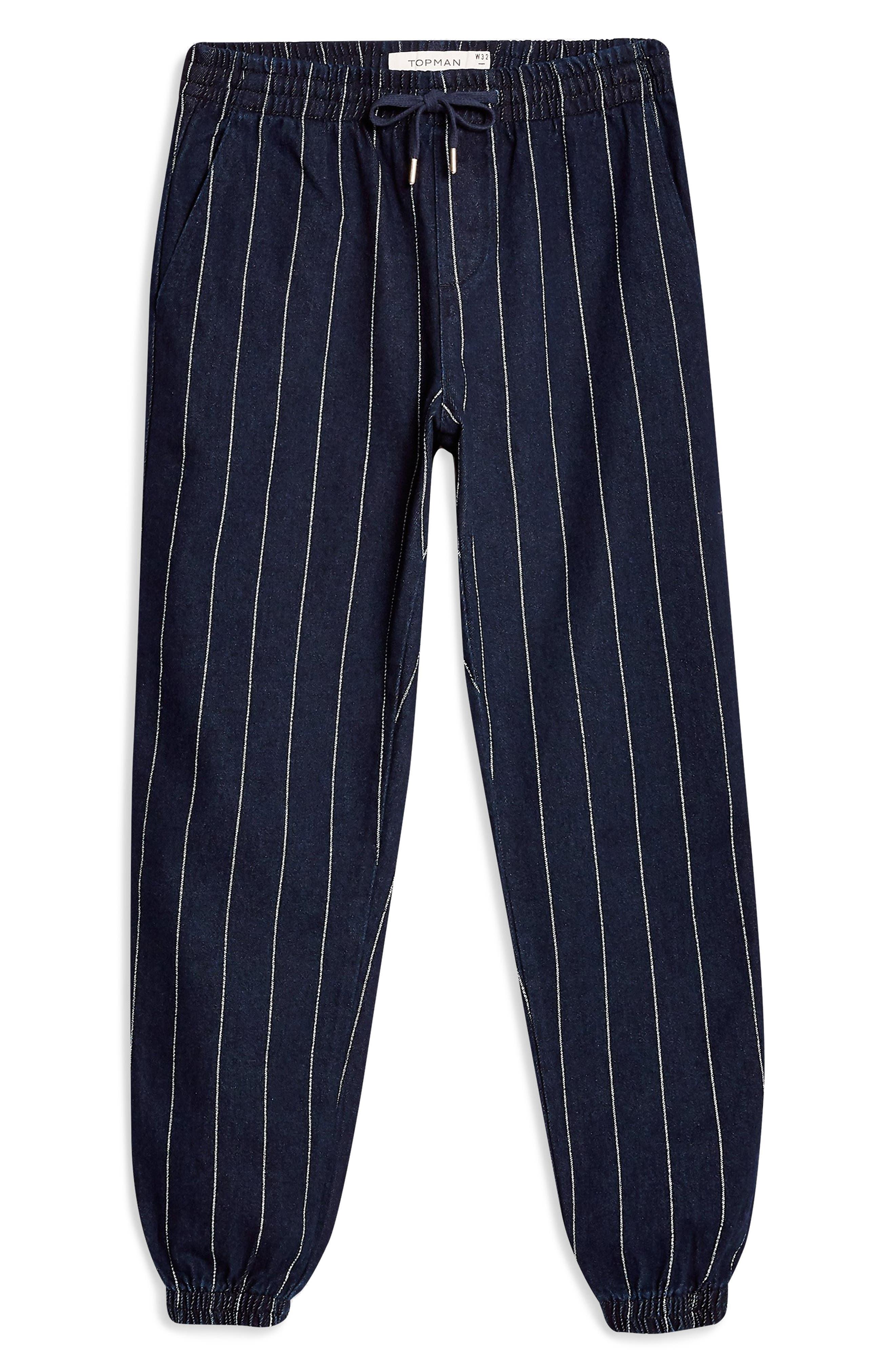 TOPMAN, Stripe Jogger Pants, Alternate thumbnail 3, color, DARK BLUE