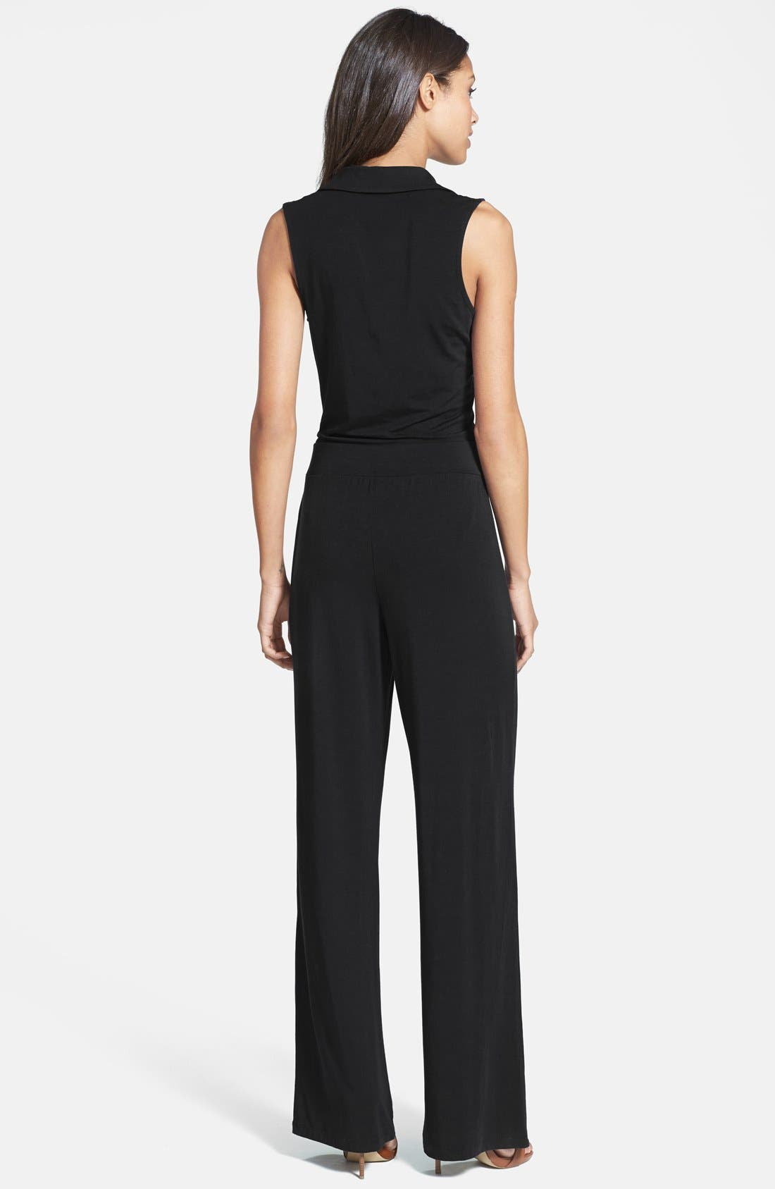 TART, 'Kenna' V-Neck Stretch Jersey Jumpsuit, Alternate thumbnail 2, color, 001
