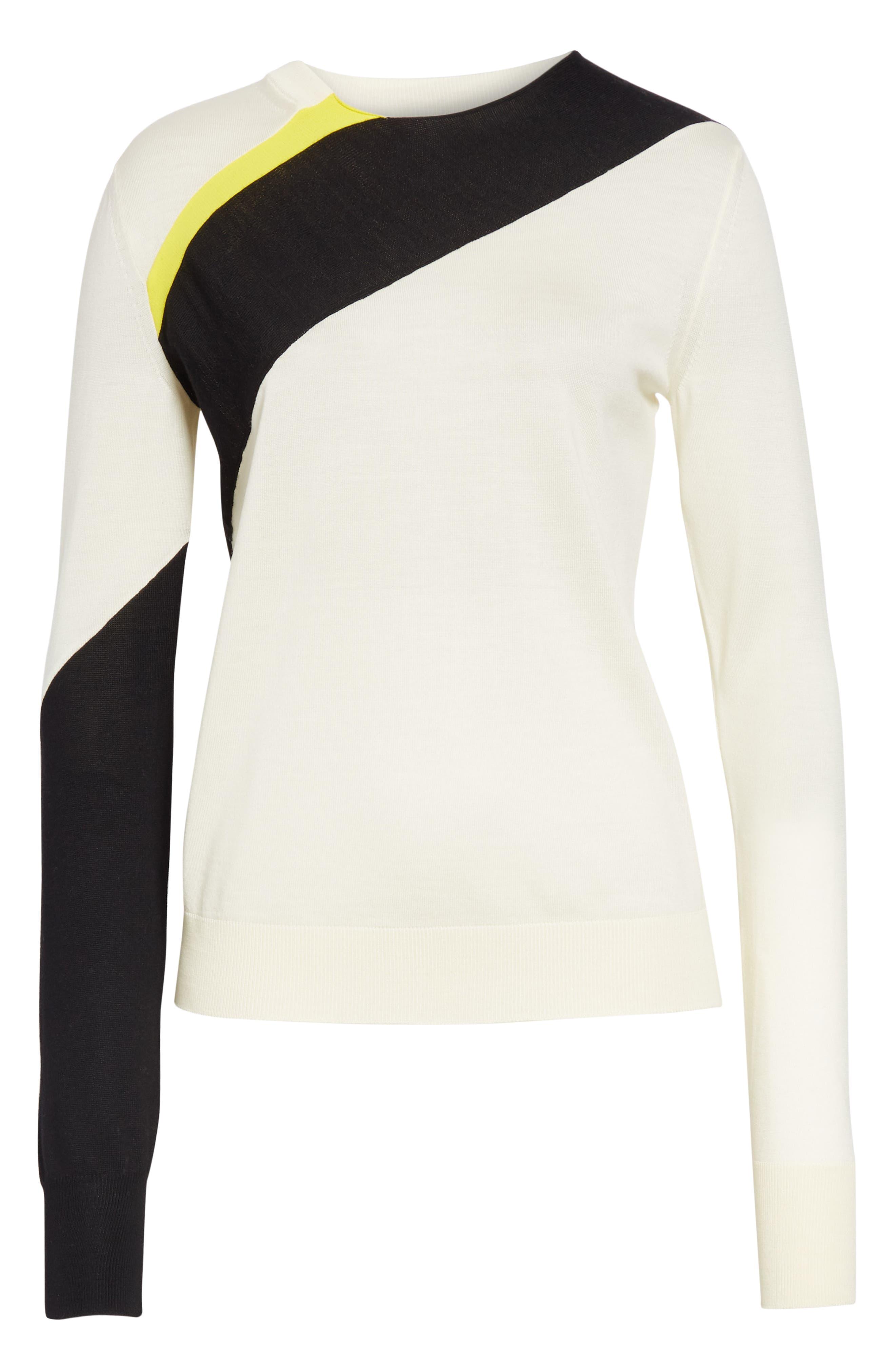 CALVIN KLEIN 205W39NYC, Contrast Stripe Wool Blend Sweater, Alternate thumbnail 7, color, WHITE BLACK TOURNESOL