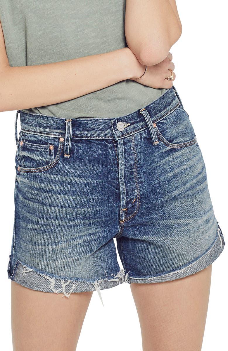Mother Shorts The Proper High Waist Cutoff Denim Shorts